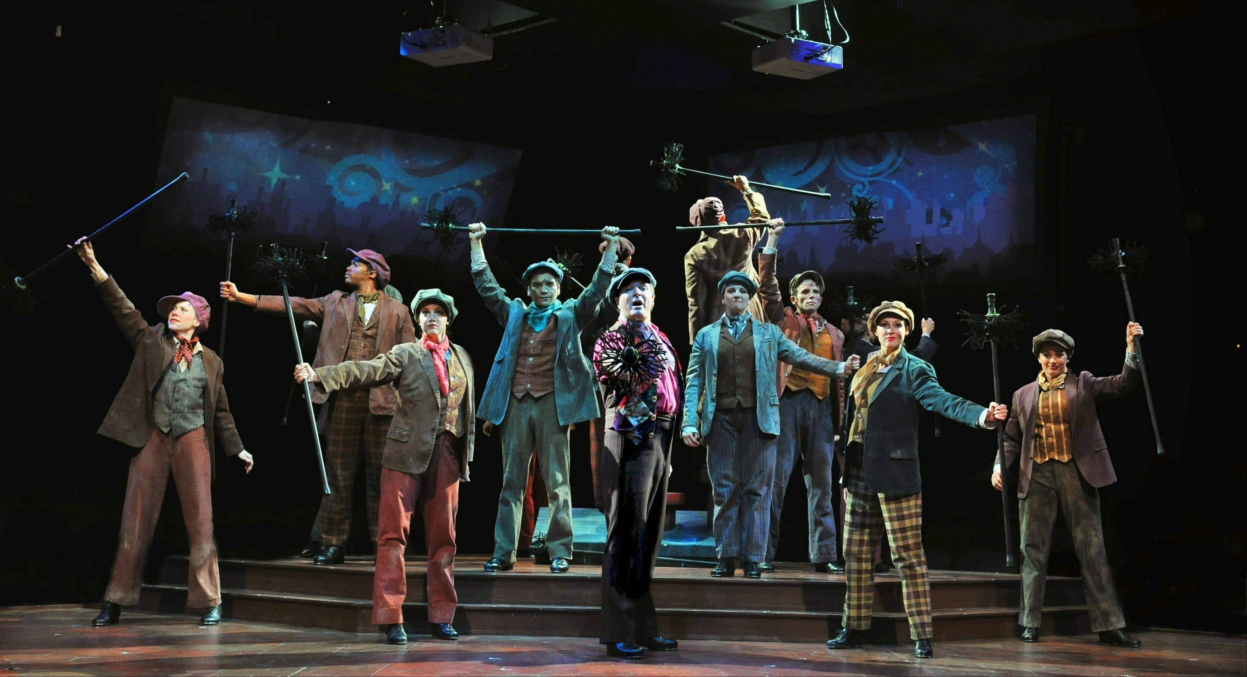 "London chimney sweeps extol their view from the rooftops in Marriott Theatre's hugely enjoyable ""Mary Poppins"" directed by Gary Griffin."
