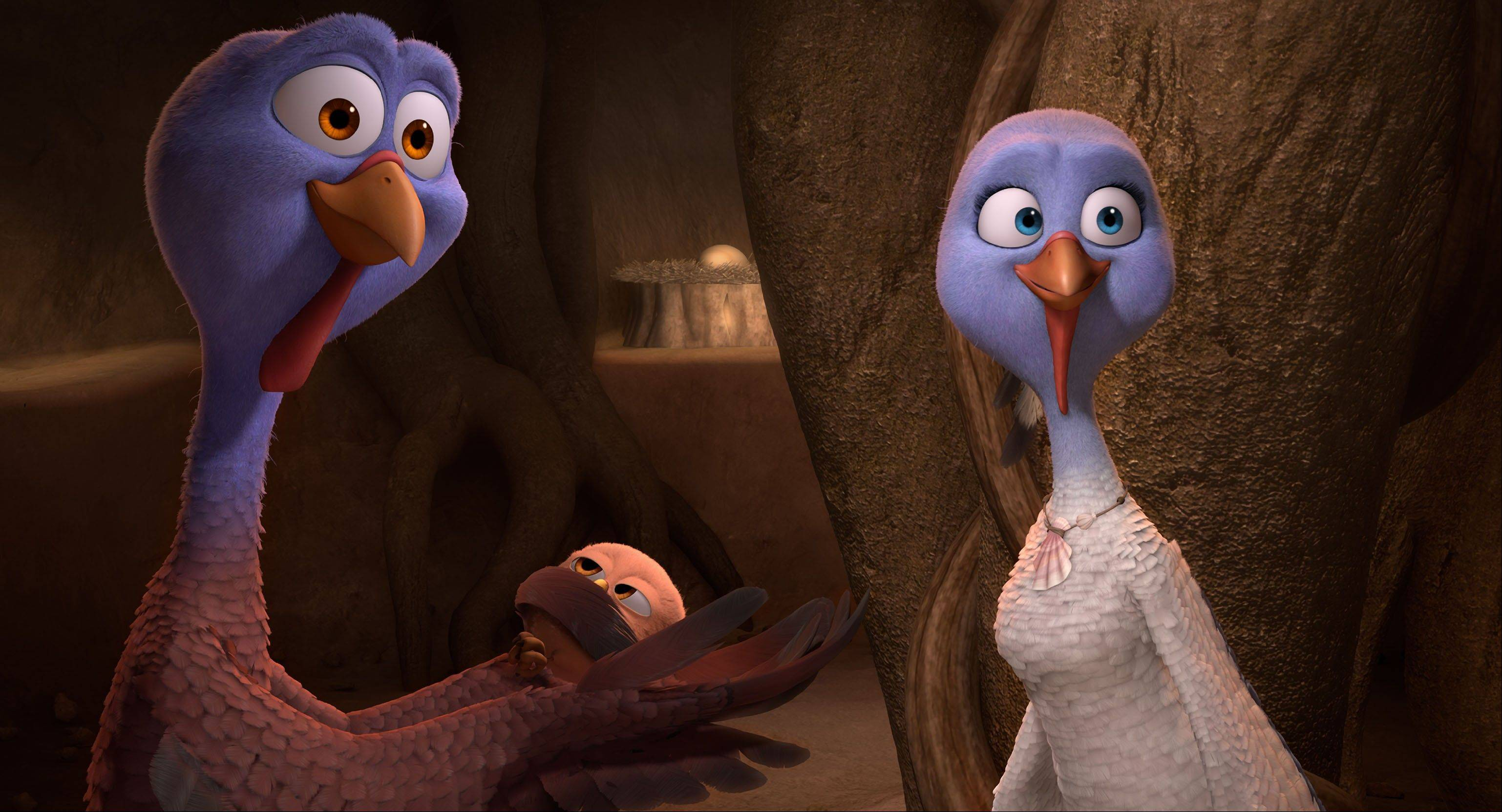"Jenny (Amy Poehler), right, and Reggie (Owen Wilson) talk turkey in Jimmy Hayward's animated time-travel tale ""Free Birds."""