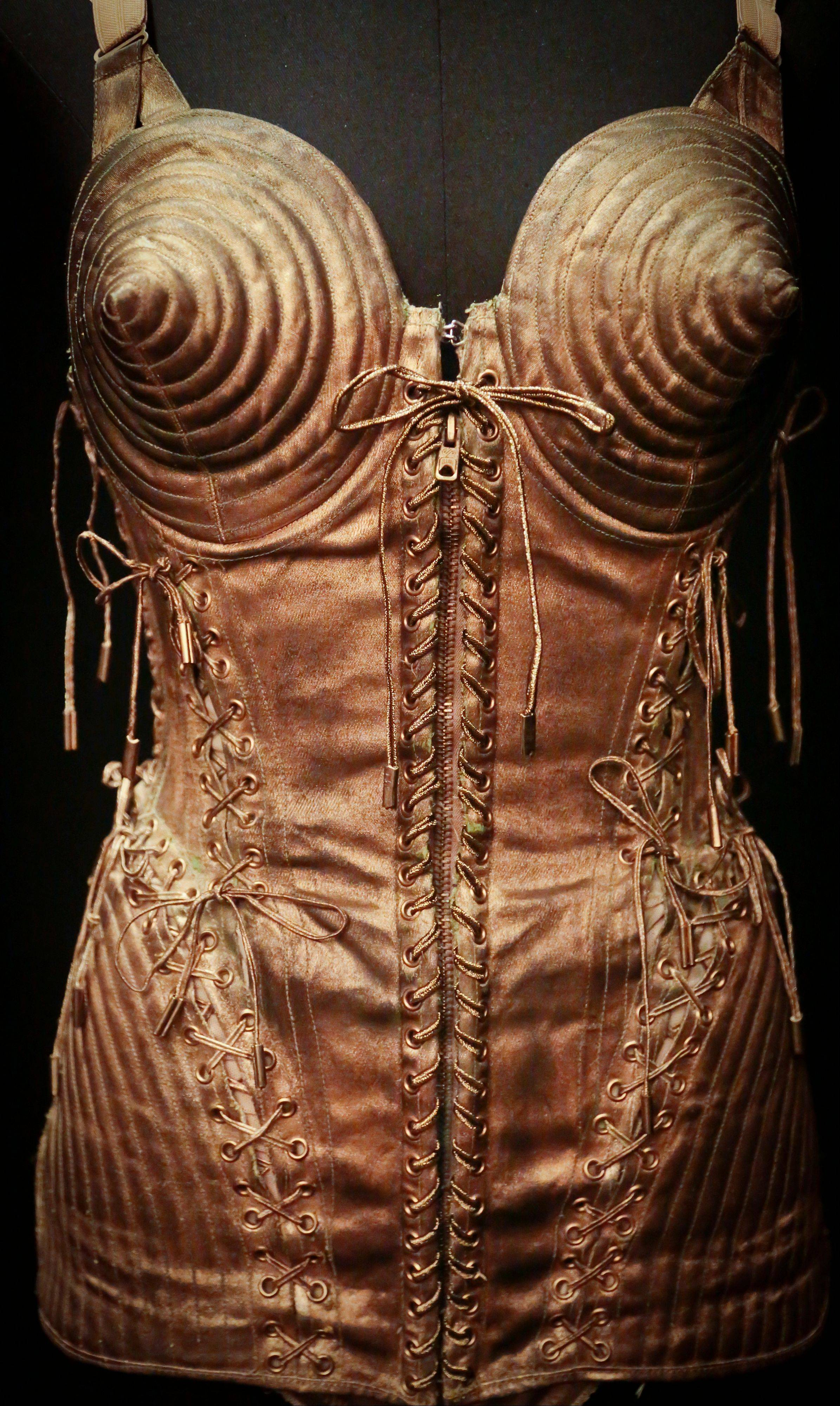 "Madonna wore this Jean Paul Gaultier design during her ""Blond Ambition"" tour. It's now on display in ""The Fashion World of Jean Paul Gaultier"" exhibit."