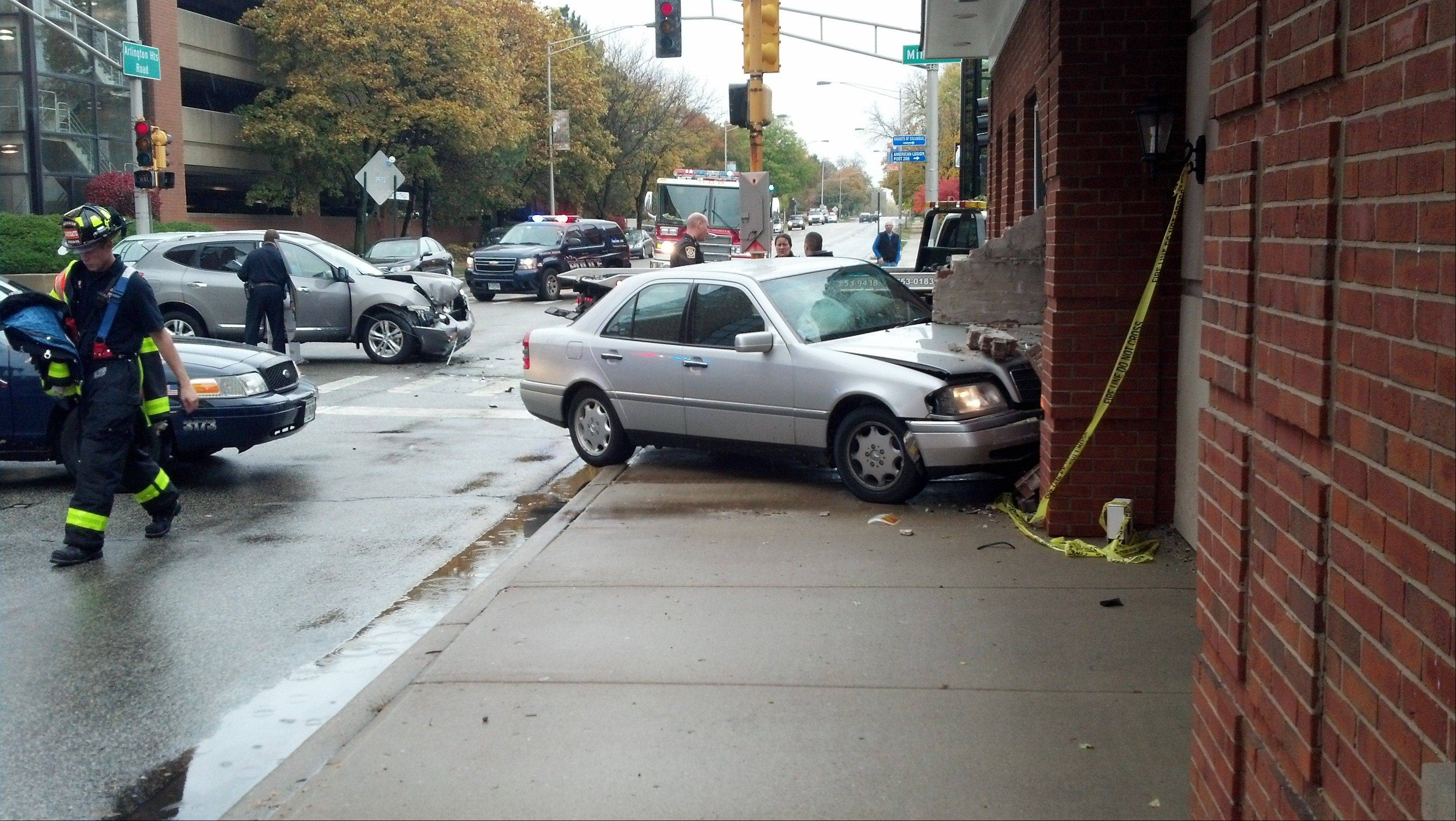 A car crashed into a building Thursday morning in Arlington Heights.