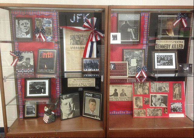 Photo courtesy David HollanderEighth grade students at Kennedy Jr. High School in Lisle put together this case of memorabilia to remember Kennedy's assassination.