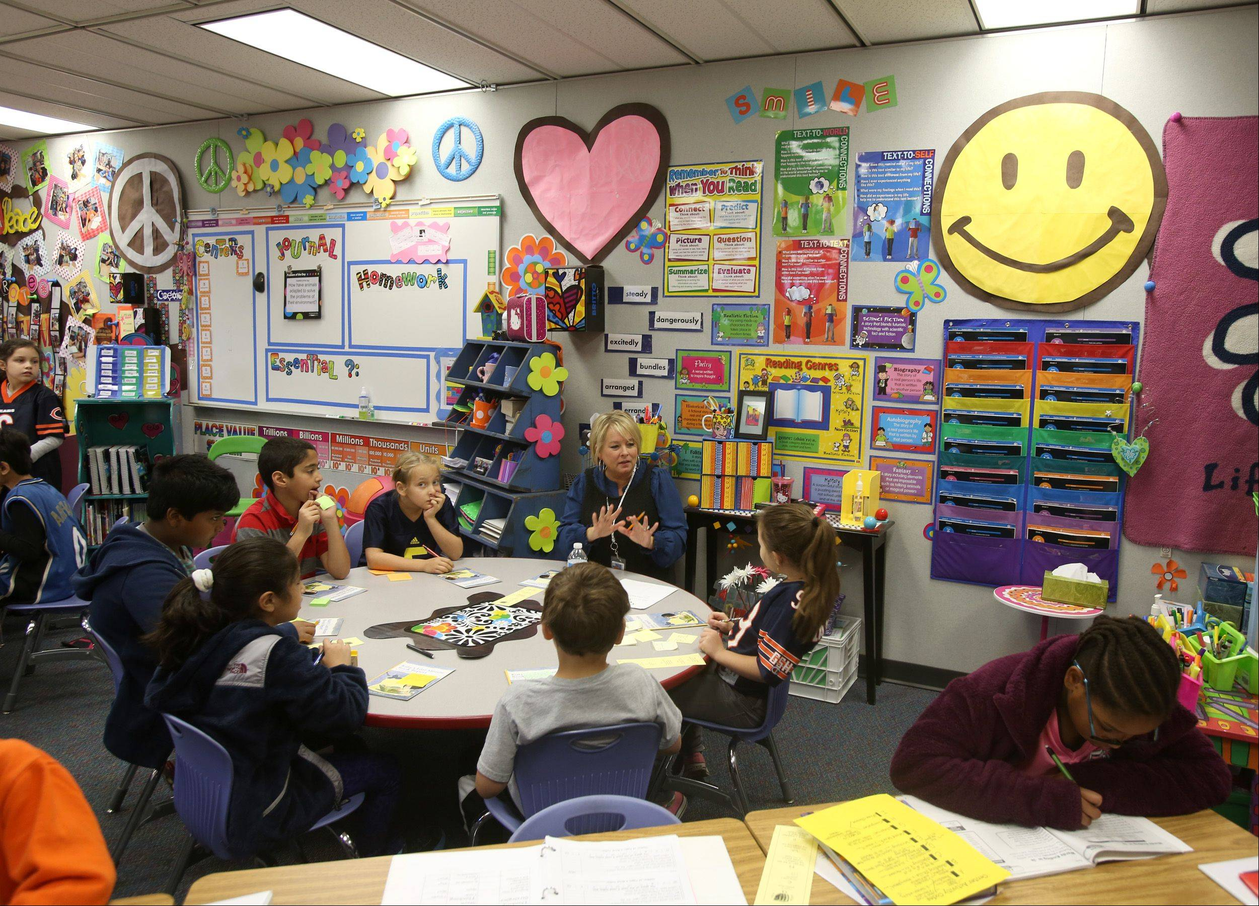 Students work in various small groups in third-grade teacher Elizabeth Sompolski's classroom at Brook Forest Elementary in Oak Brook.
