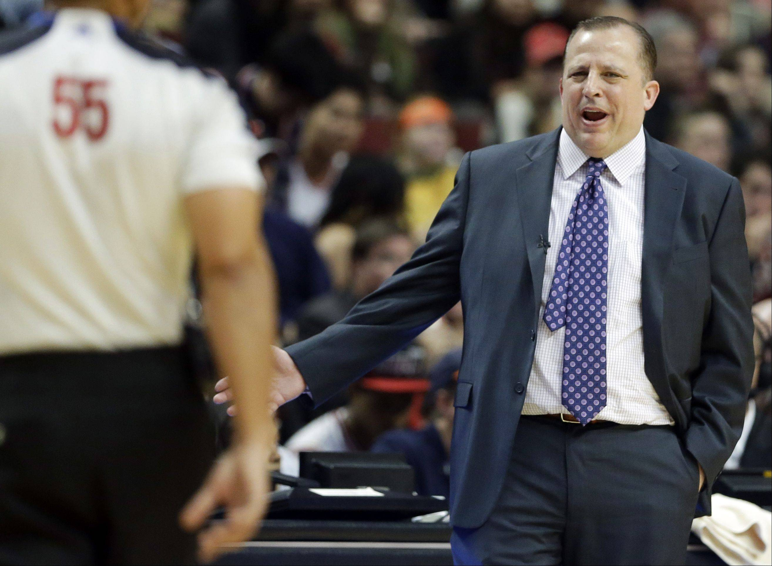 Chicago Bulls head coach Tom Thibodeau reacts to a call during the second half of an NBA basketball game against the New York Knicks in Chicago, Thursday, Oct. 31, 2013. The Bulls won 82-81.