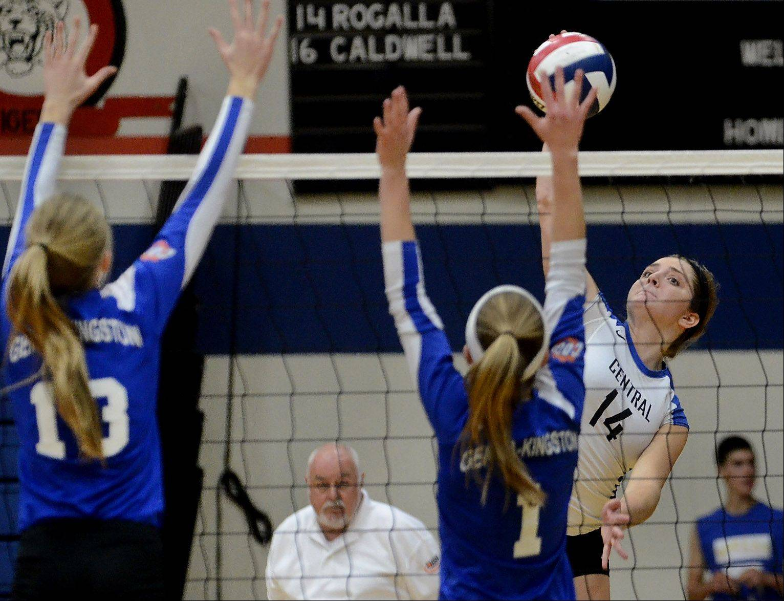 Central's Lauren Wiltsie spikes one past Genoa-Kingston, as Burlington Central defeats Genoa-Kingston volleyball for Class 3A regional title.