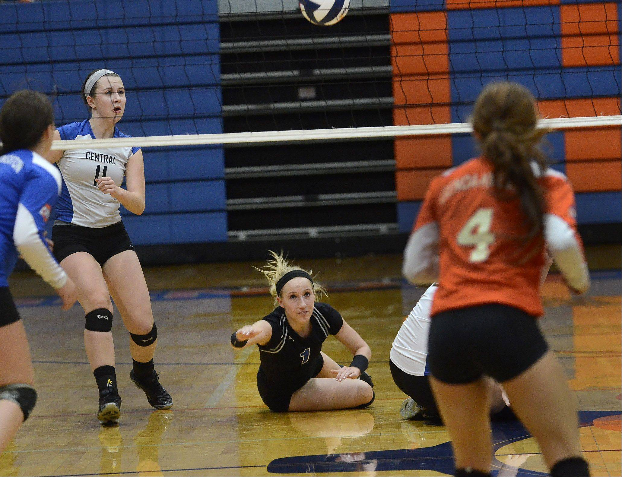 Central's Allie O'Reilly goes for the save as Burlington Central defeats Genoa-Kingston volleyball for Class 3A regional title.