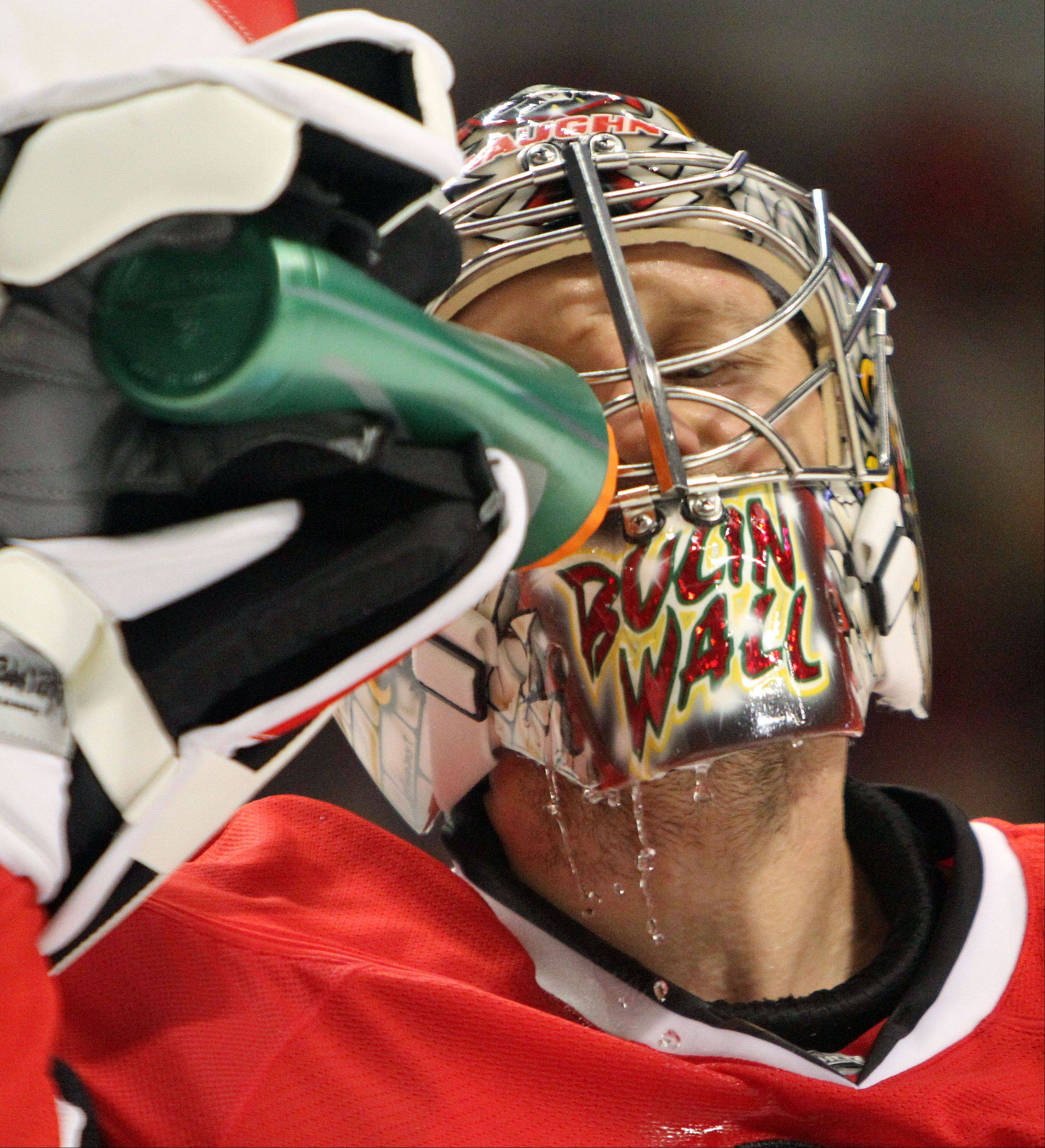 Blackhawks goalie Nikolai Khabibulin isn't happy with how his stint as Corey Crawford's backup has begun.