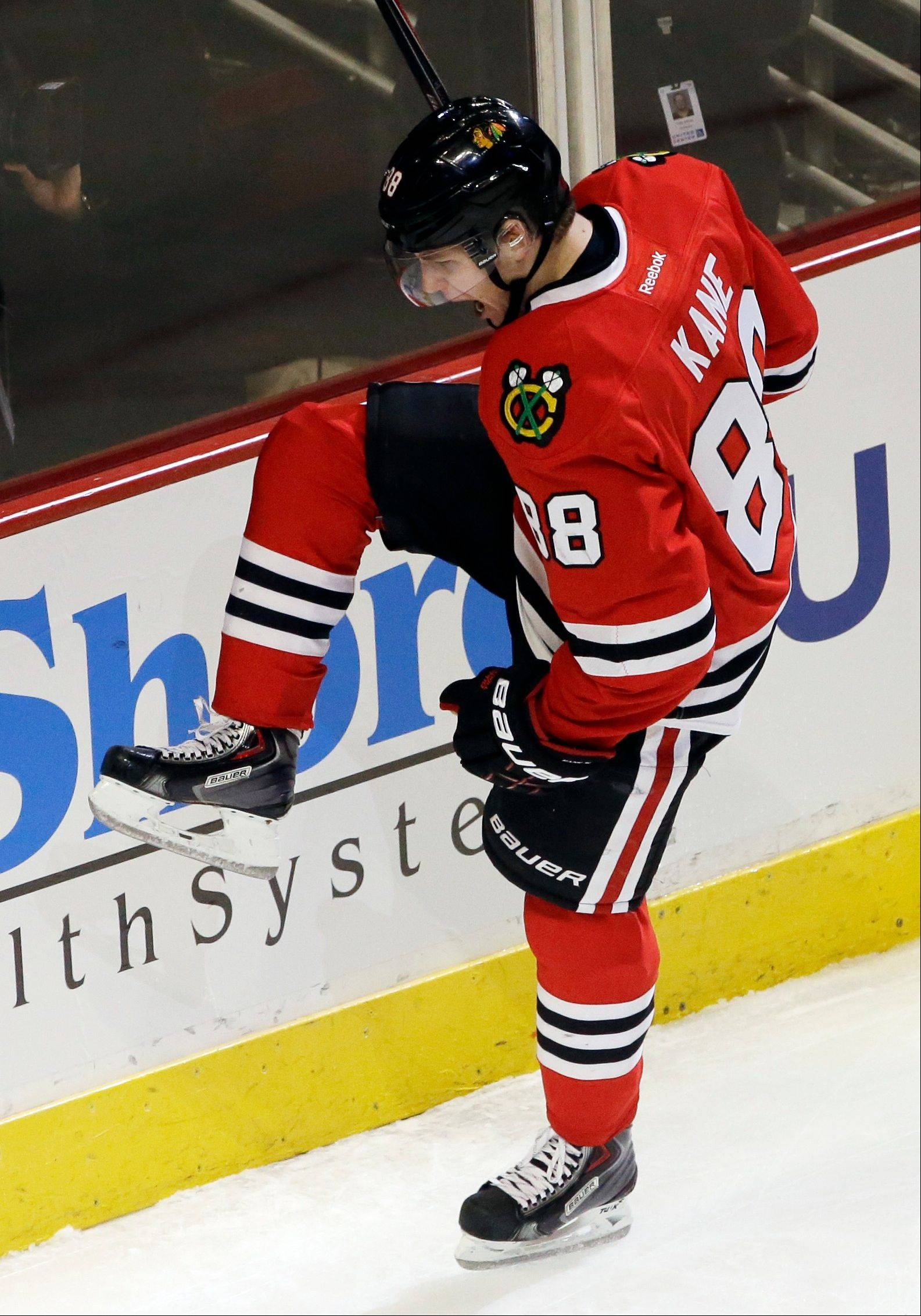 Hawks winger Patrick Kane isn't celebrating his minus-9 rating on the ice.