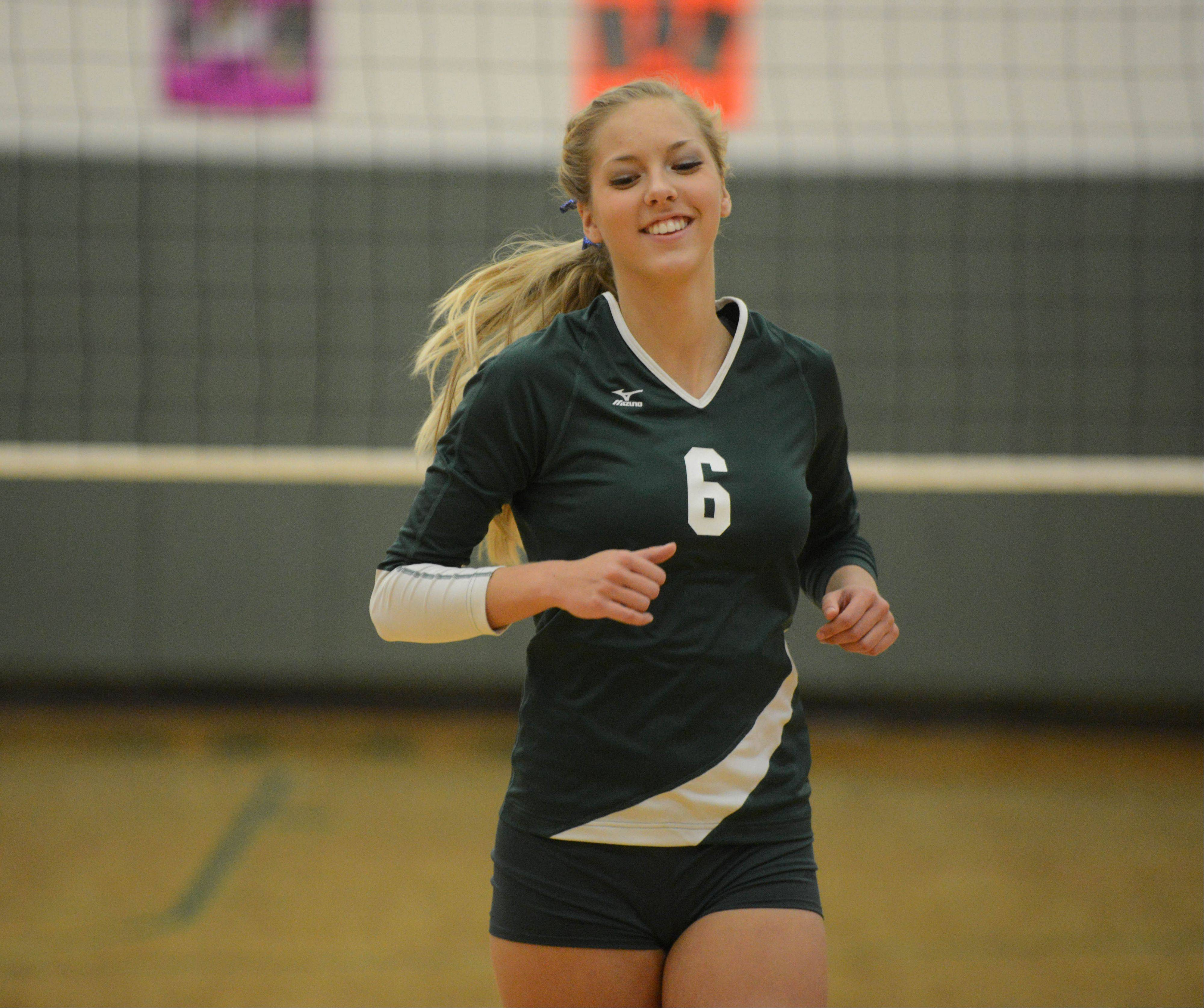 Waubonsie Valley's Rachel Minarick at the Elgin vs. Waubonsie Valley girls volleyball game Tuesday.