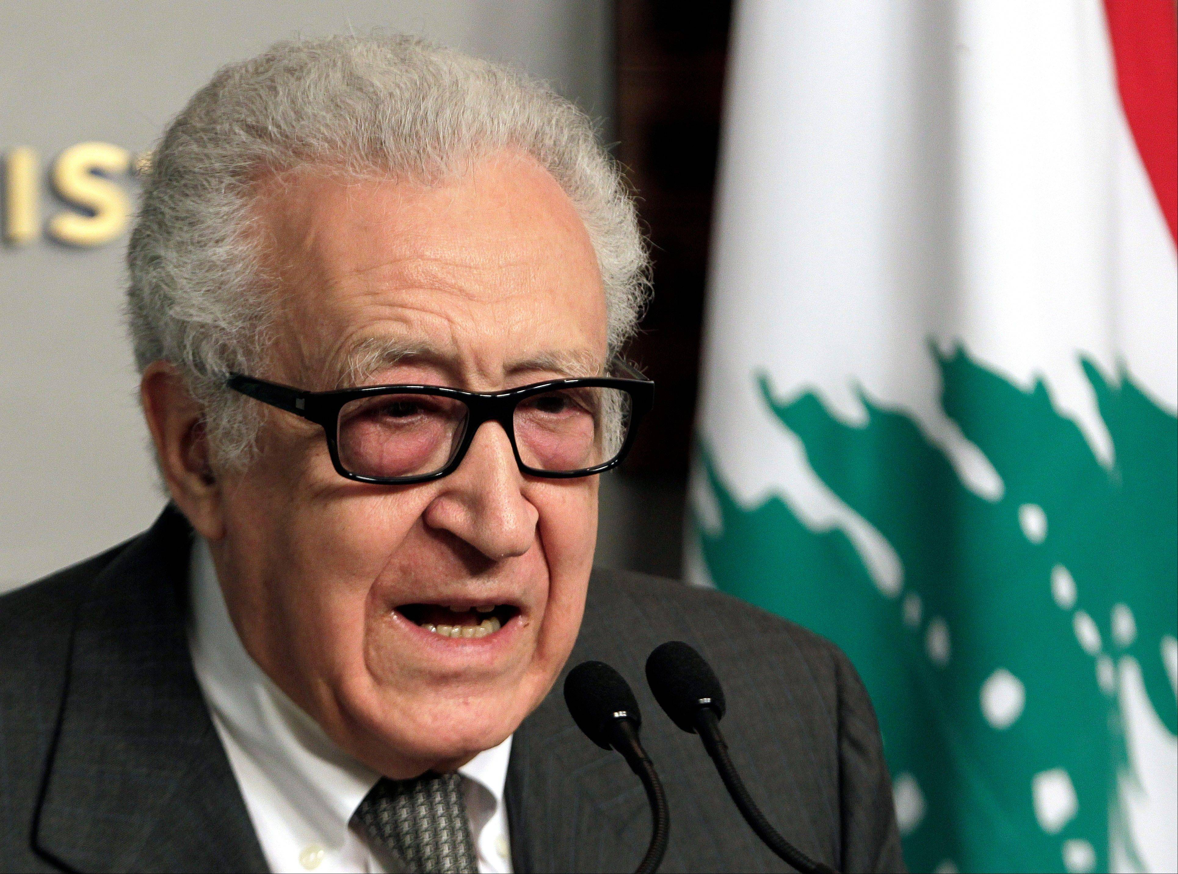 U.N.-Arab League envoy for Syria, Lakhdar Brahimi, speaks during a press conference after his meeting with Lebanese Prime Minister Najib Mikati, at the government house, in Beirut, Lebanon, Friday, Nov. 1, 2013. Brahimi warned on Friday in Damascus that there can be no peace talks without the opposition while making yet another plea for both sides in the civil war to come to the negotiating table in Geneva later this month. (AP Photo/Bilal Hussein)