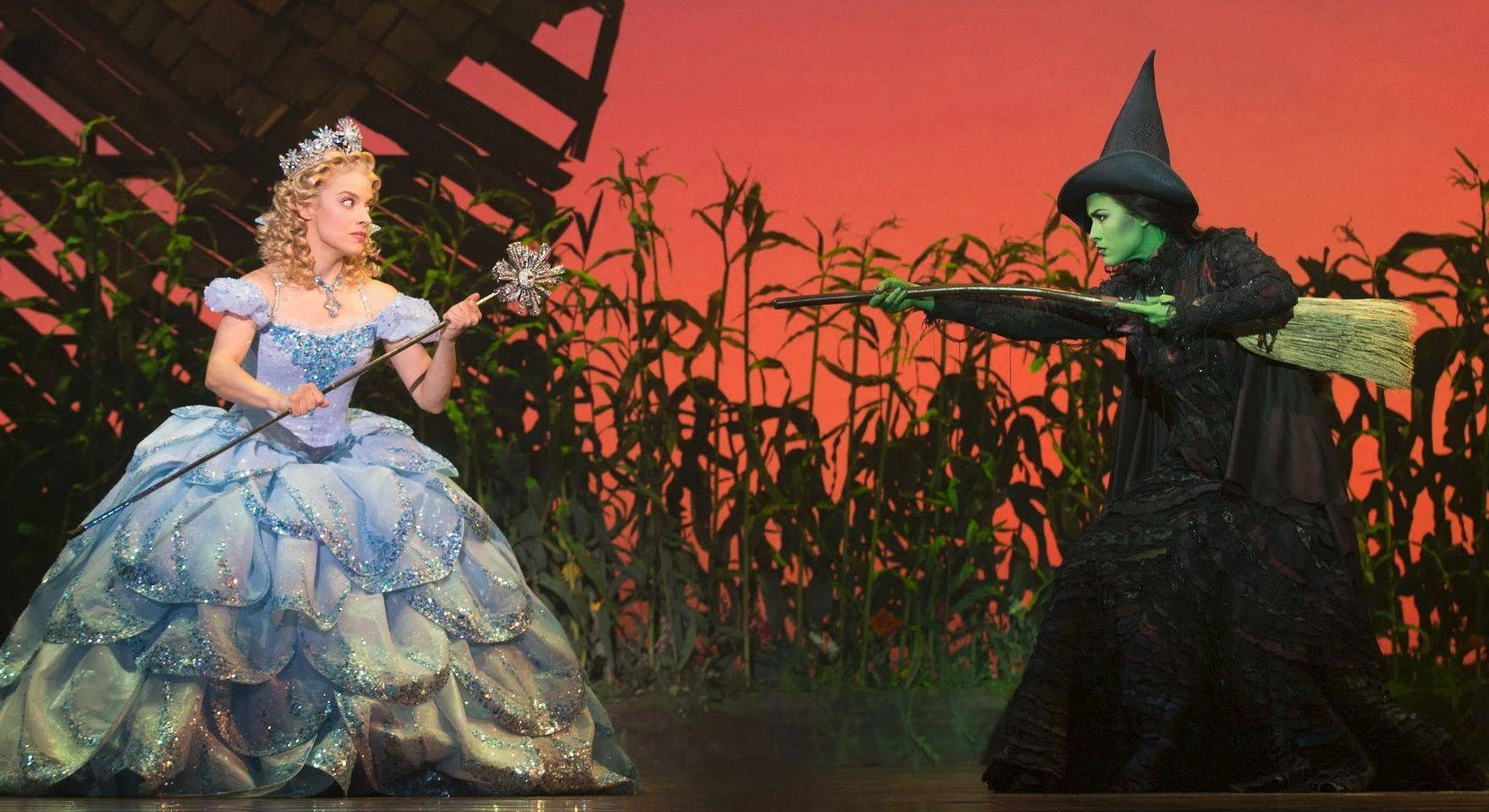"Glinda (Jenn Gambatese) and Elphaba (Alison Luff) argue in ""Wicked,"" opening tonight at the Oriental Theatre in Chicago. The musical is the first in the Short & Sweet review series sponsored by the Daily Herald and Broadway in Chicago."