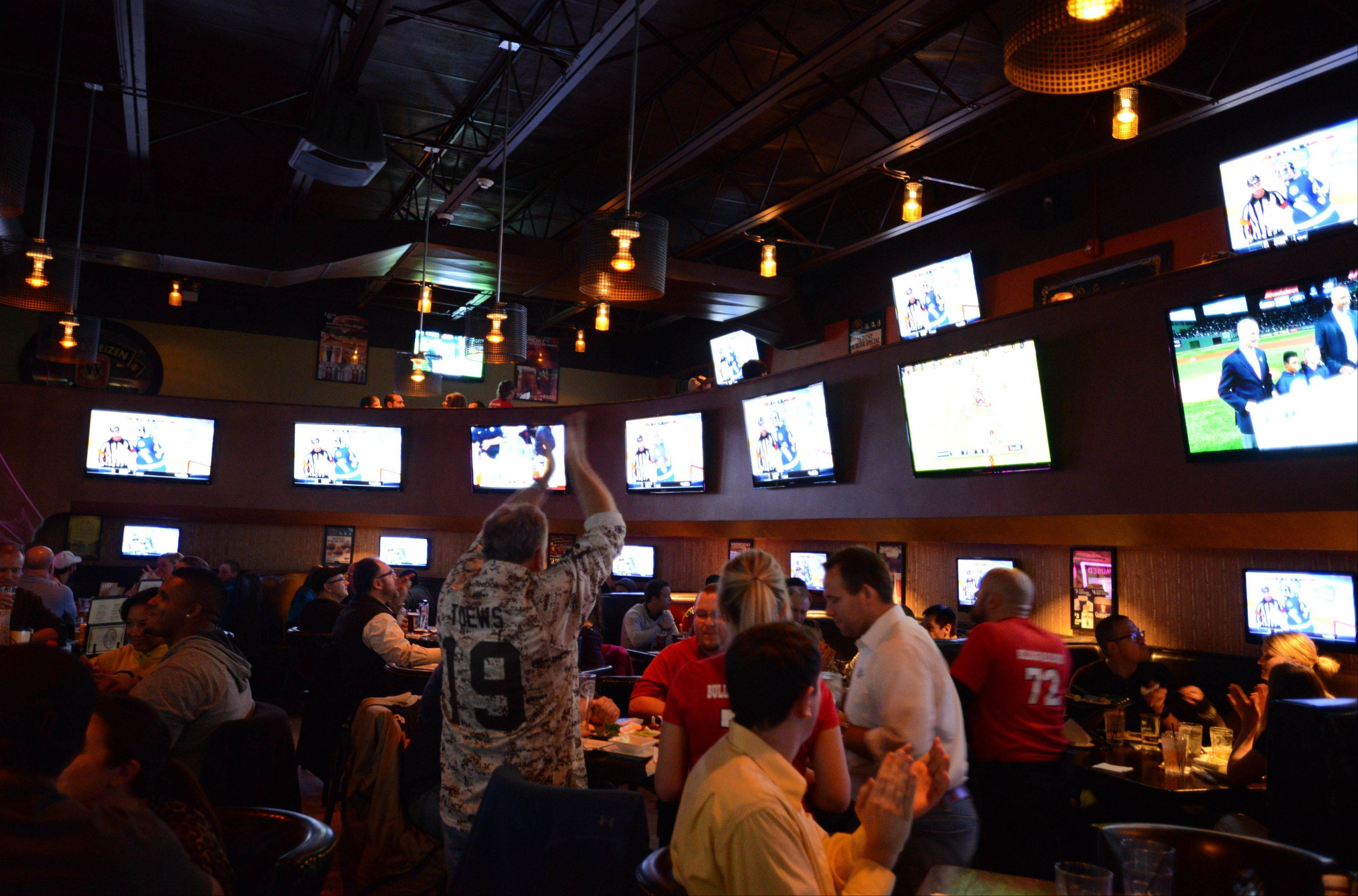 Bulldog Ale House in Roselle has lots of TVs tuned to sports.
