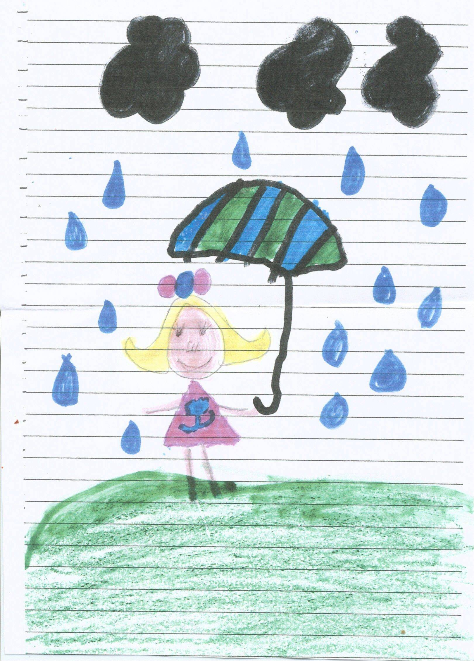 "Mackenzie Dinger, 8, attends St. Thomas of Villanova in Palatine. ""Rainy days are awesome!"""