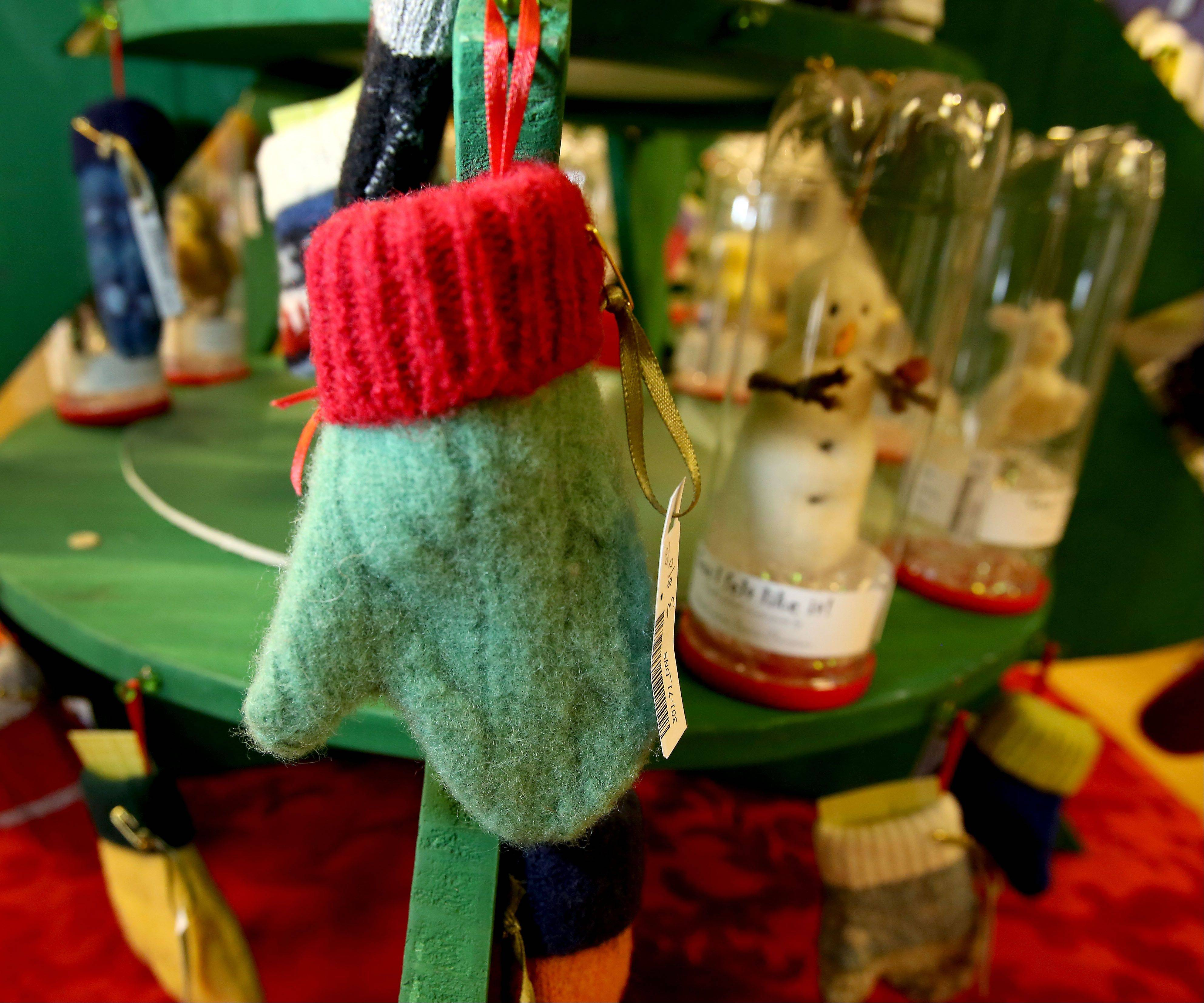 "Many items, including these mitten ornaments, are made from recycled materials and are available at the ""Yuletide Treasures"" sale at the DuPage Art League in Wheaton. The sale runs through Dec. 24."