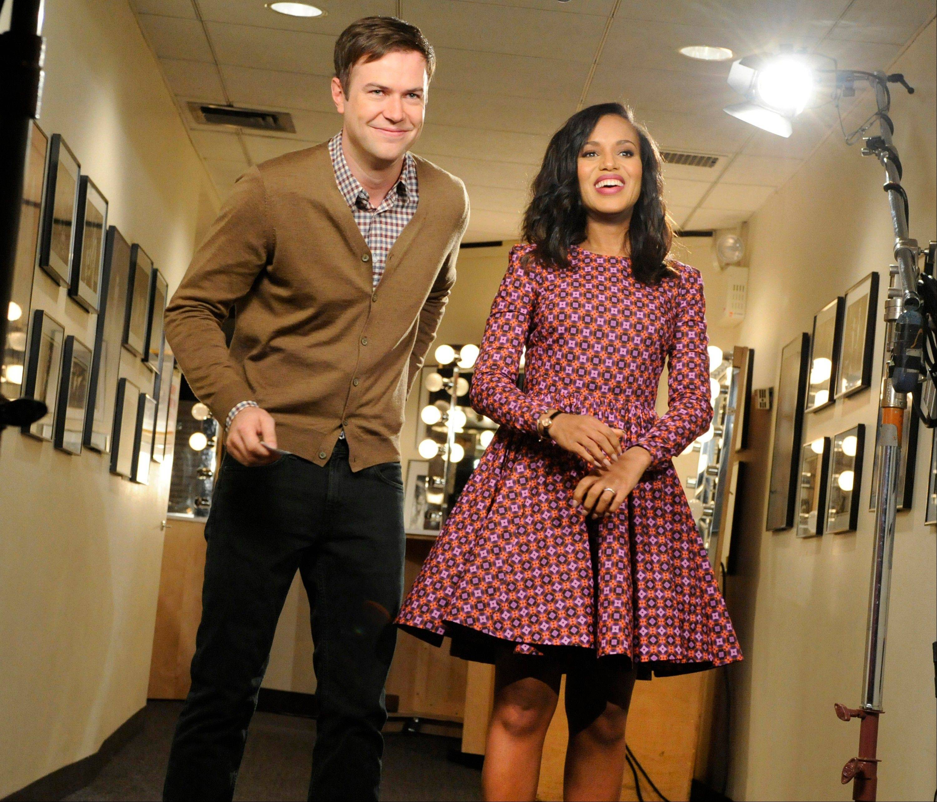 "Actress Kerry Washington, right, with cast member Taran Killam, will host ""Saturday Night Live"" on Nov. 2."