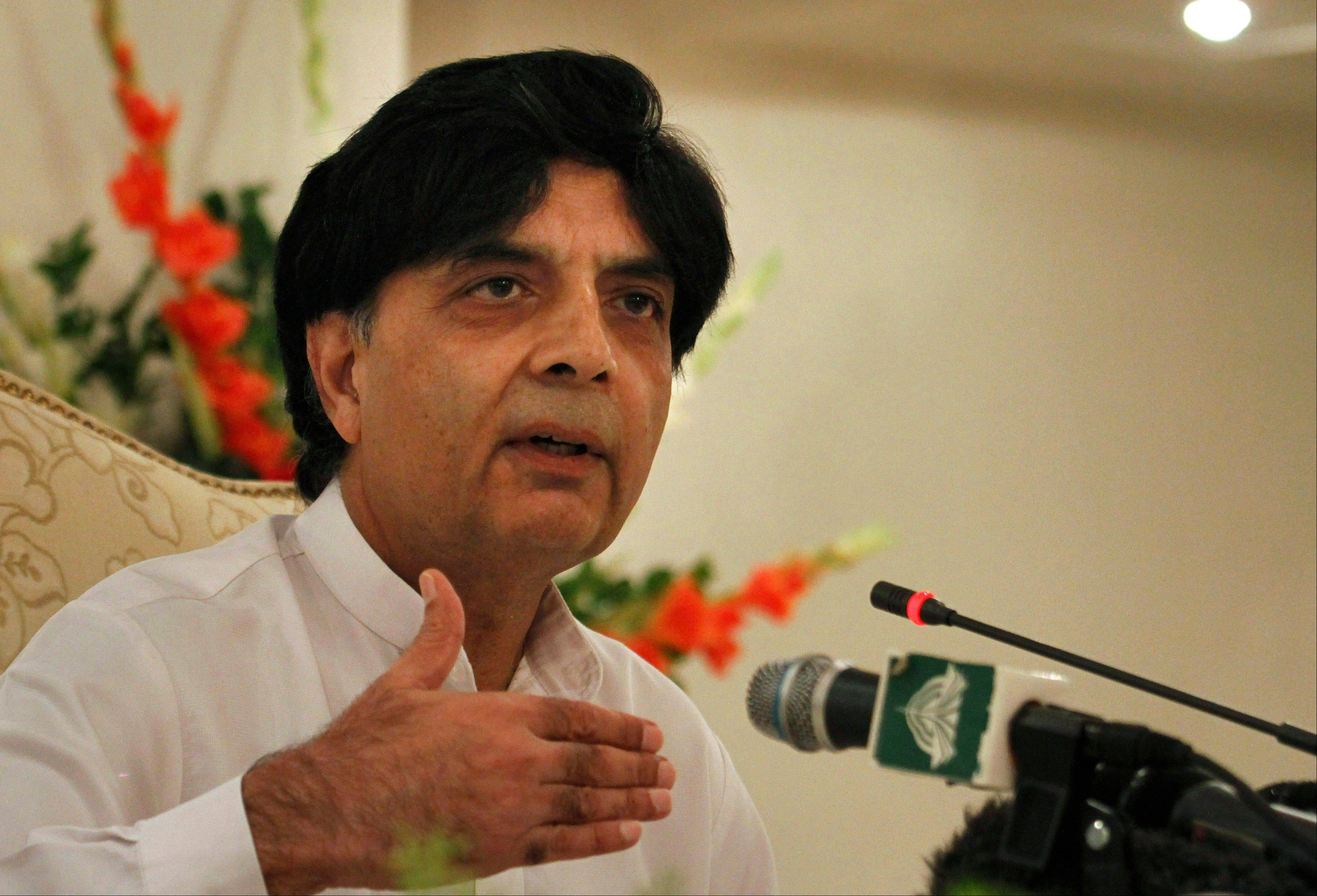 Pakistan's Interior Minister Chaudhry Nisar Ali gestures Saturday during a press conference regarding the killing of Pakistani Taliban chief, in Islamabad, Pakistan. The Pakistani Taliban confirmed the death of their leader, Hakimullah Mehsud, in a U.S. drone strike.