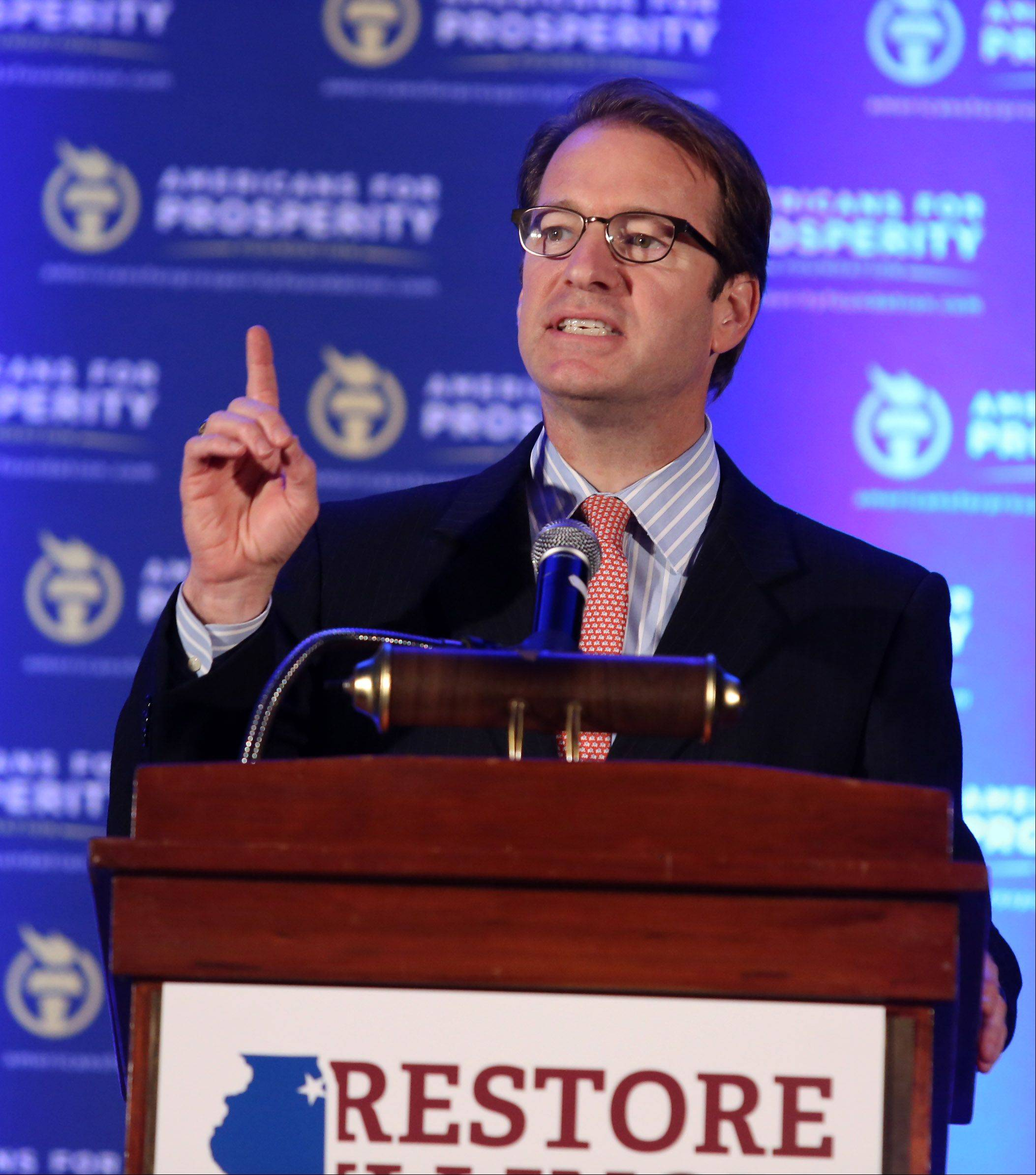 U.S. Rep. Peter Roskam of Wheaton speaks at the conservative Restore Illinois Summit on Saturday at the Stephens Convention Center in Rosemont.