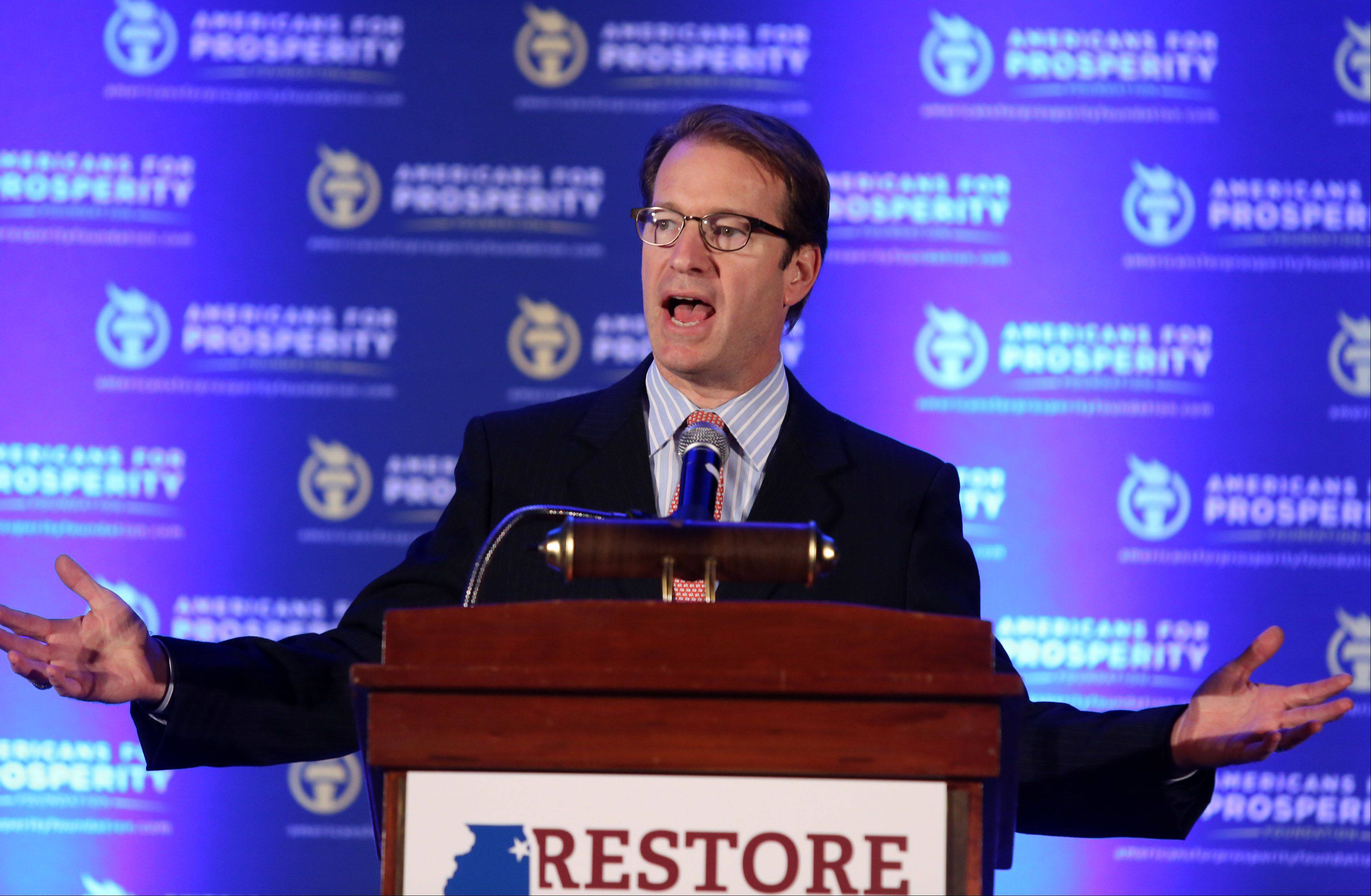 U.S. Peter Roskam of Wheaton, the chief deputy whip for Republicans, tries to rally conservatives Saturday at The Restore Illinois Summit at the Stephens Convention Center in Rosemont.