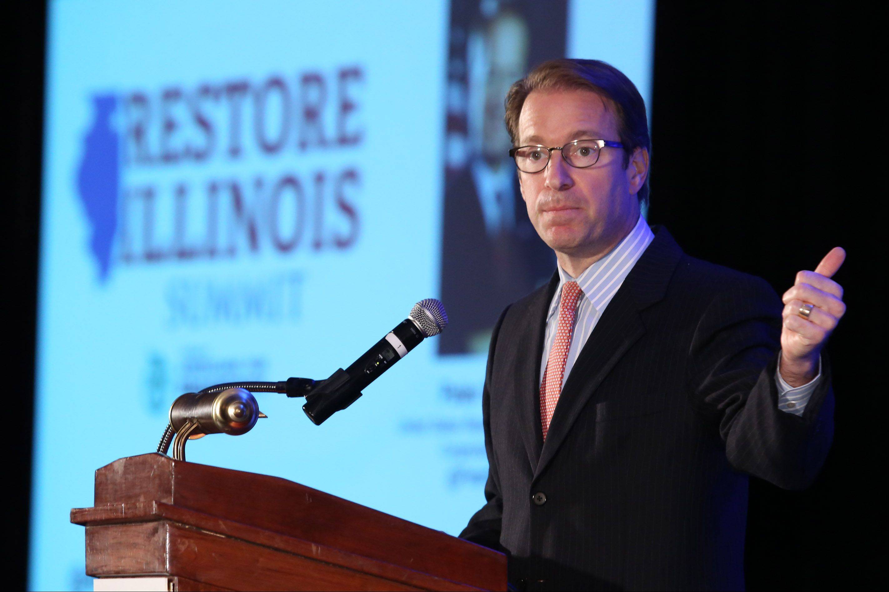 Representative Peter Roskam speaks at the Restore Illinois Summit Saturday at the Stephens Convention Center in Rosemont.