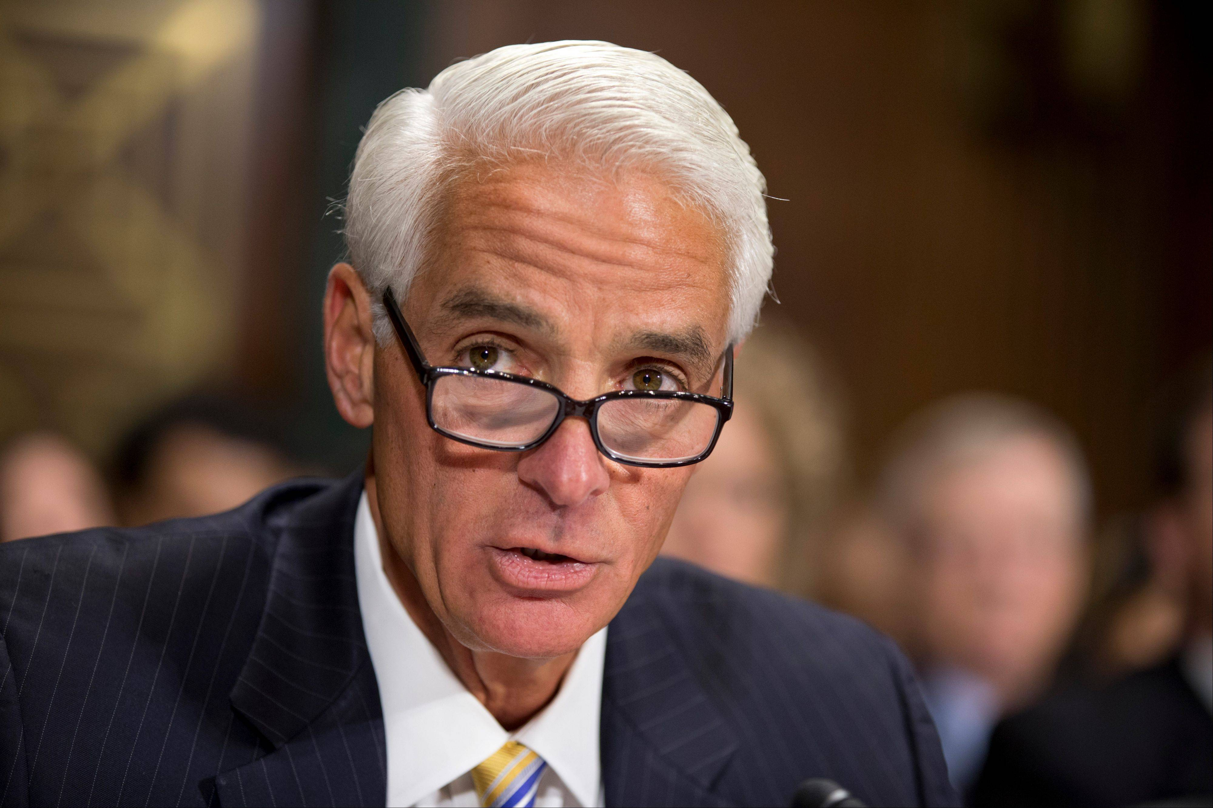 Former Florida Gov. Charlie Crist delivers a statement before the Senate Judiciary Committee on Capitol Hill in Washington.