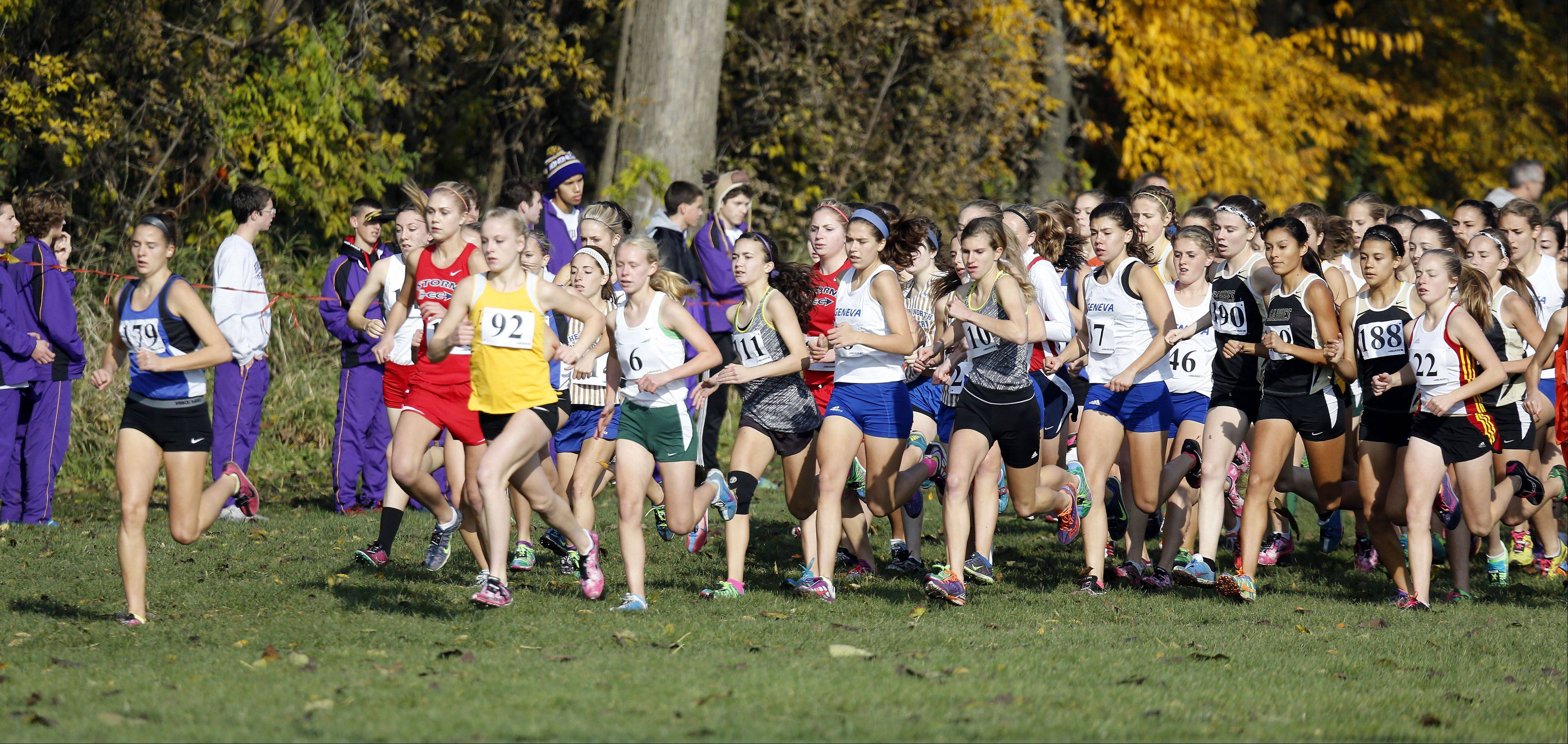The start of the Waubonsie Valley girls cross country Sectional in Aurora.