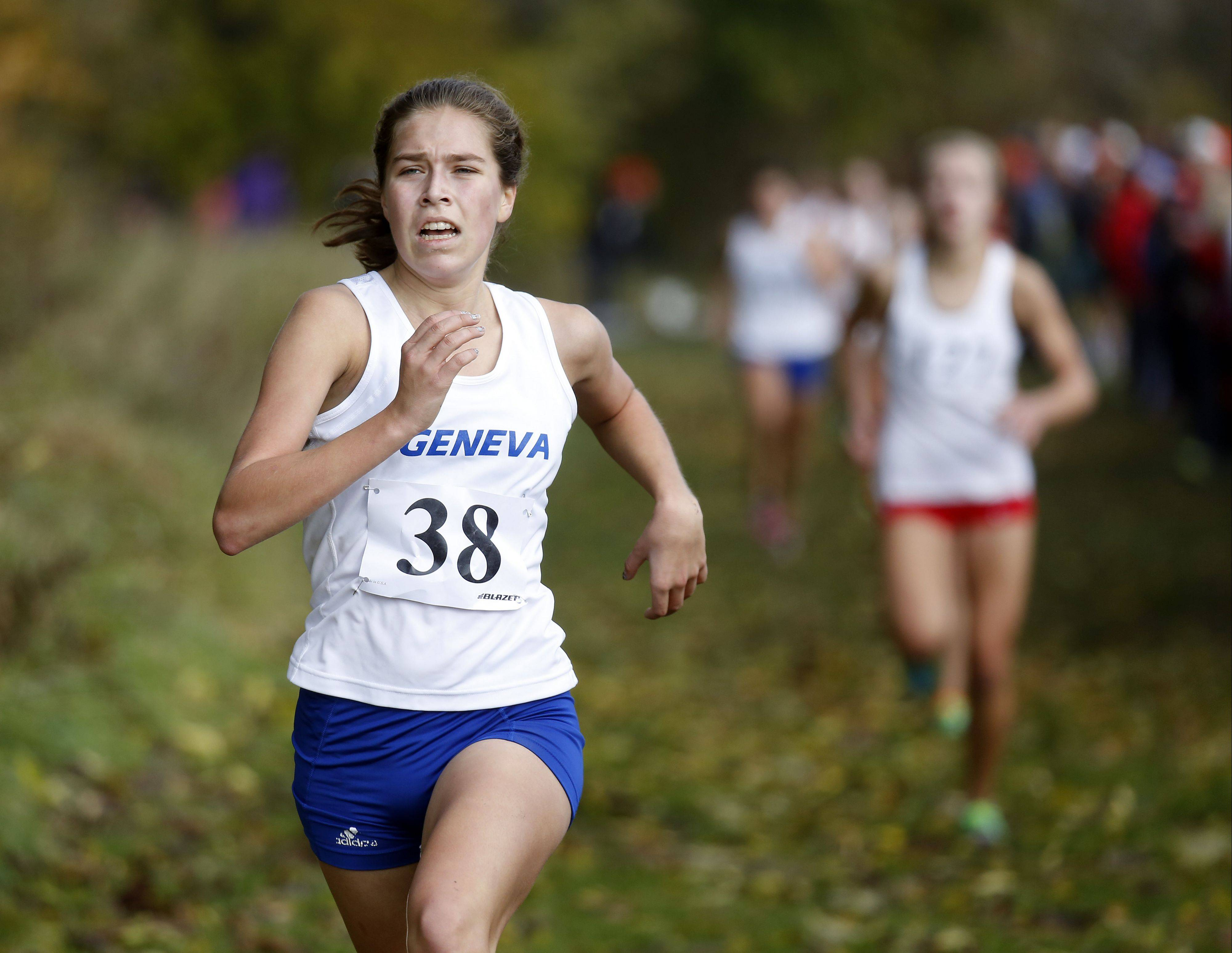 Geneva's McKenzie Altmayer on the way to 16th during the Waubonsie Valley girls cross country Sectional in Aurora.
