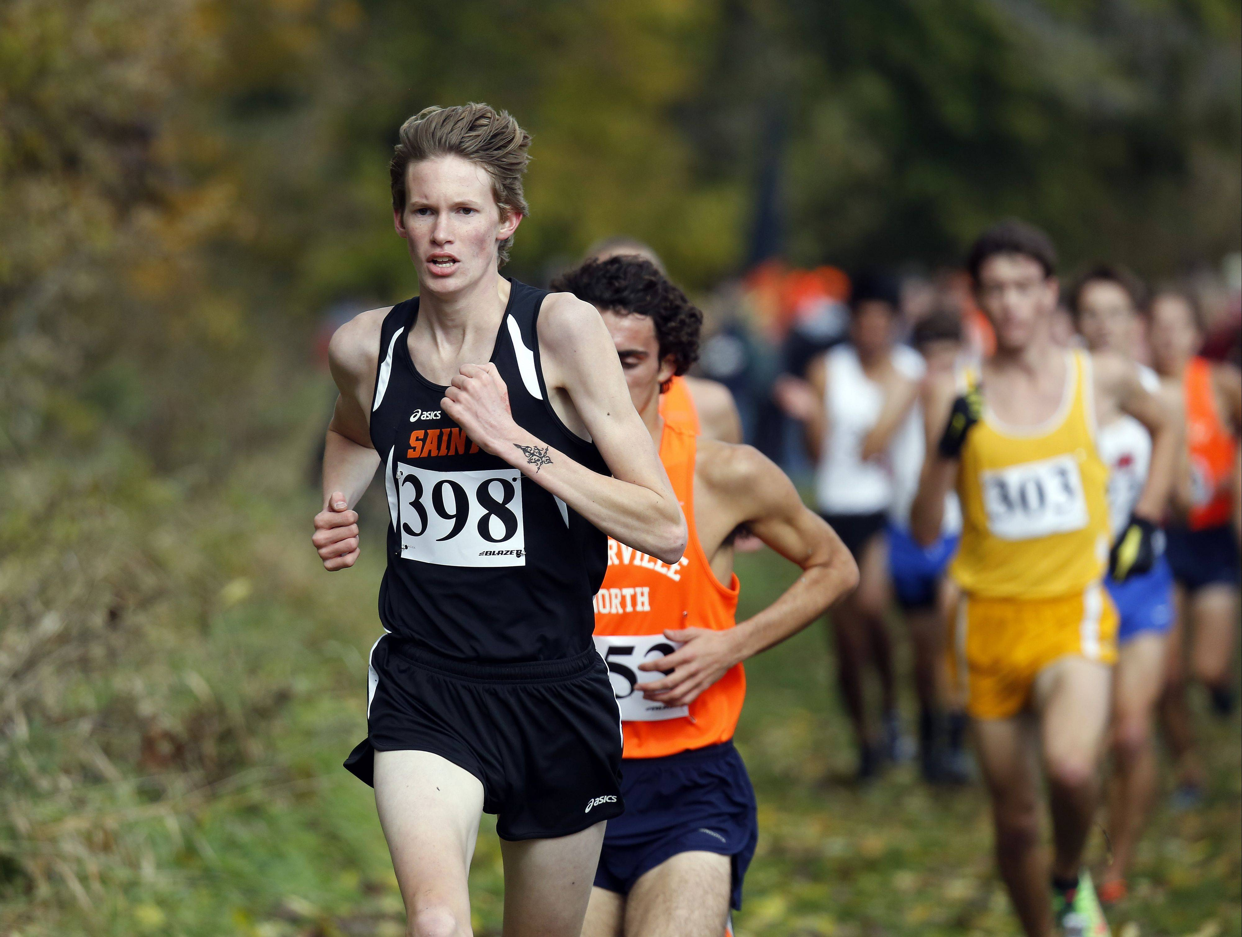 St. Charles East heads to ninth place during the Waubonsie Valley boys cross country Sectional in Aurora.