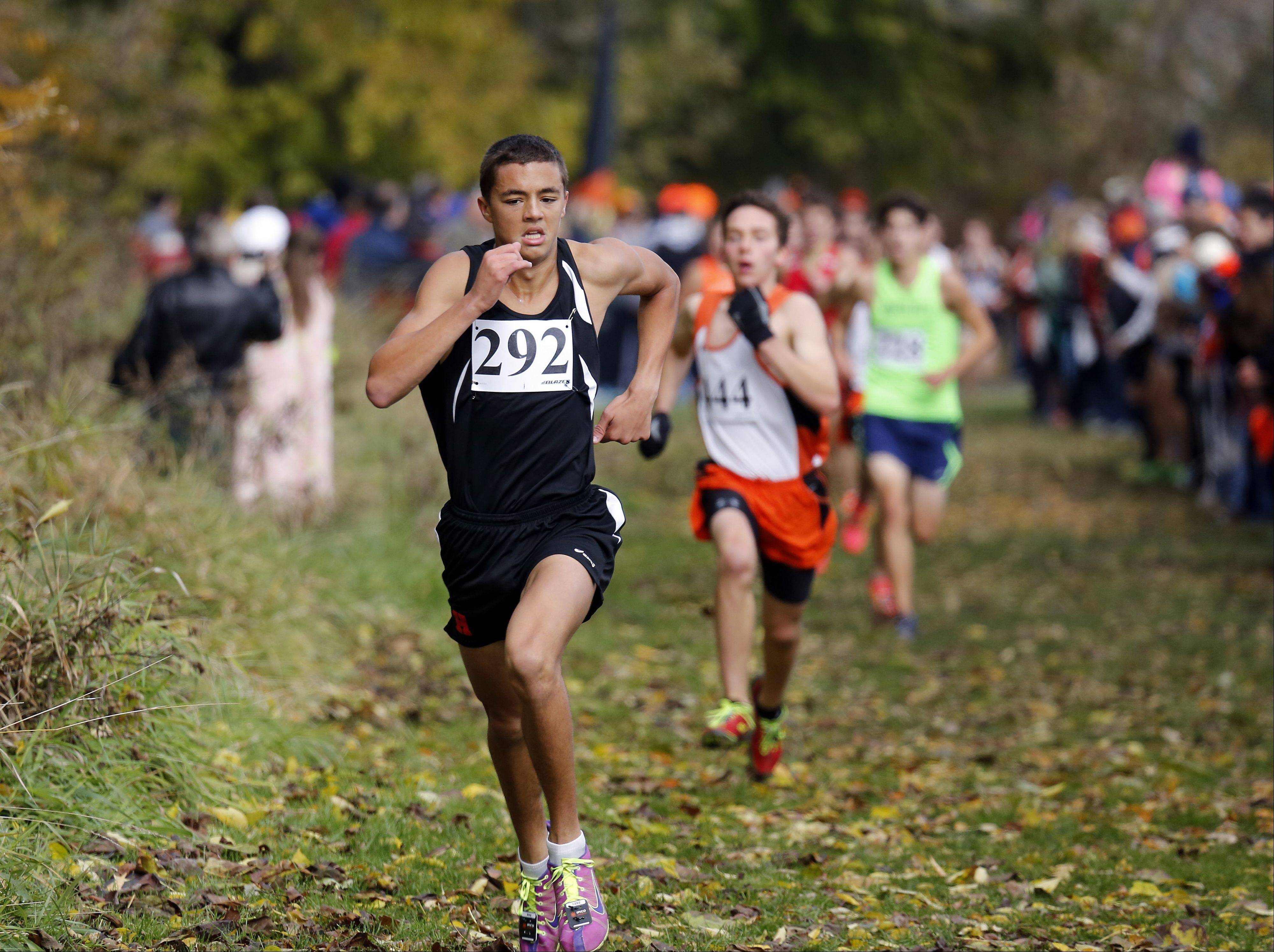 Huntley's Keagan Smith heads to fourth during the Waubonsie Valley boys cross country Sectional in Aurora.