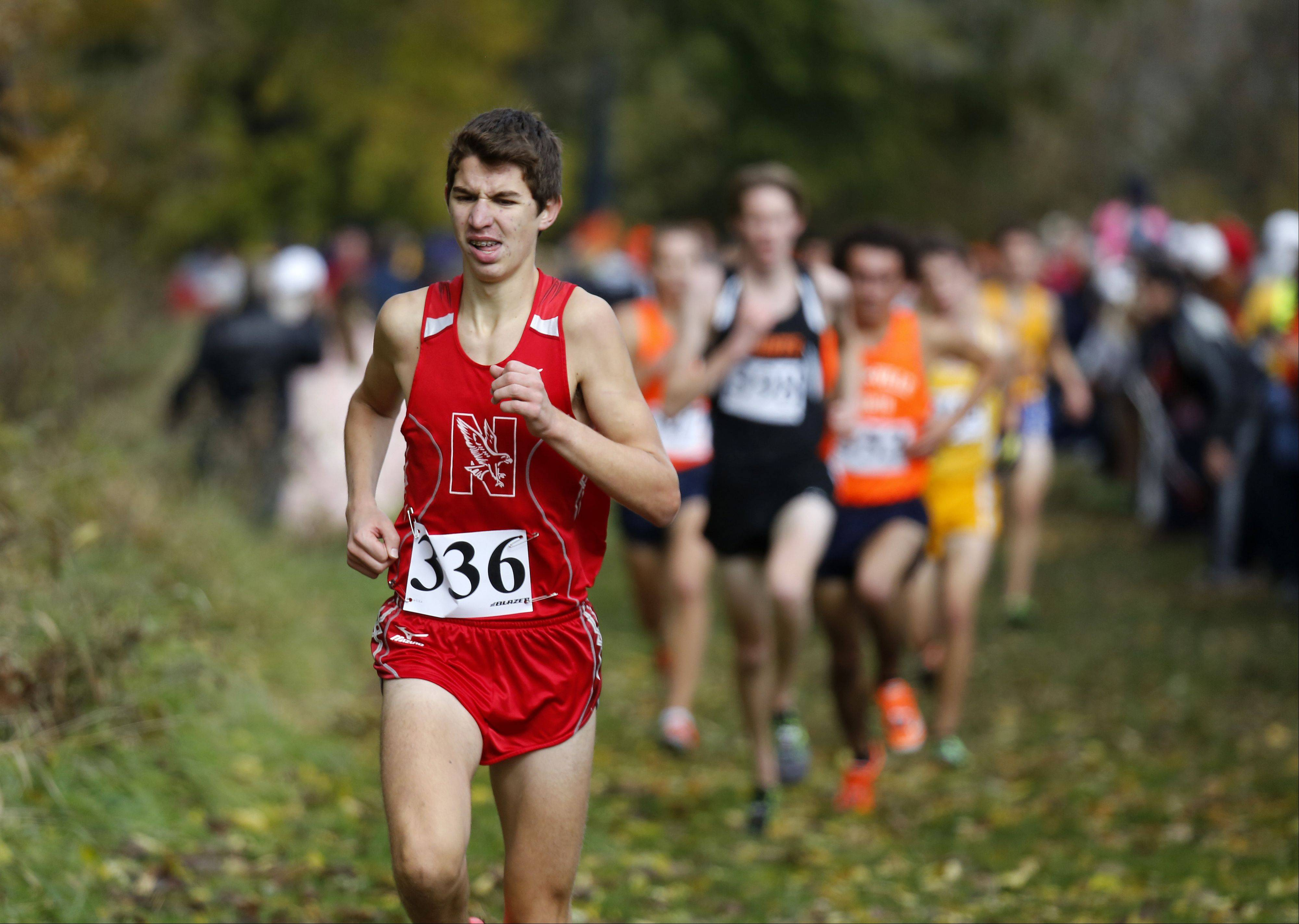 Naperville Central Scott Hicks heads to 8th place during the Waubonsie Valley boys cross country Sectional in Aurora.