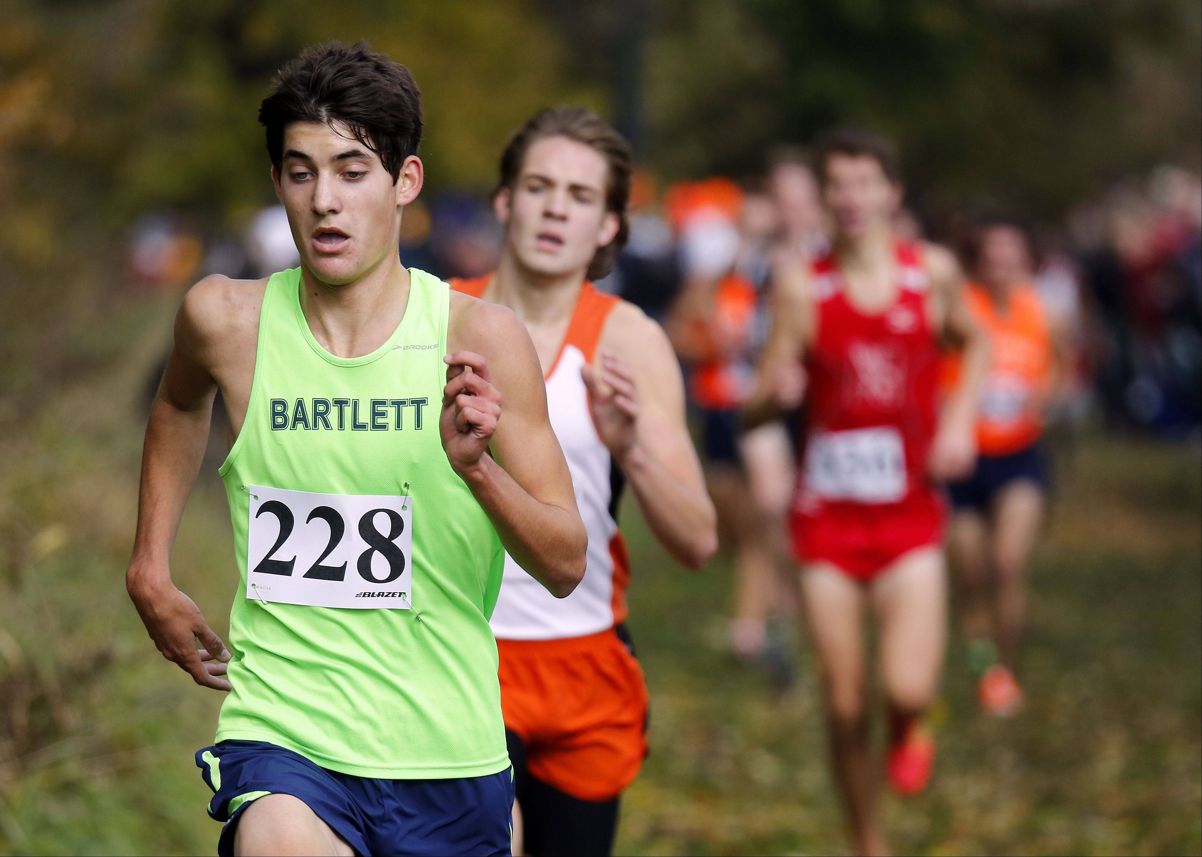 Bartlett's Dan Cotton heads to sixth during the Waubonsie Valley boys cross country Sectional in Aurora.