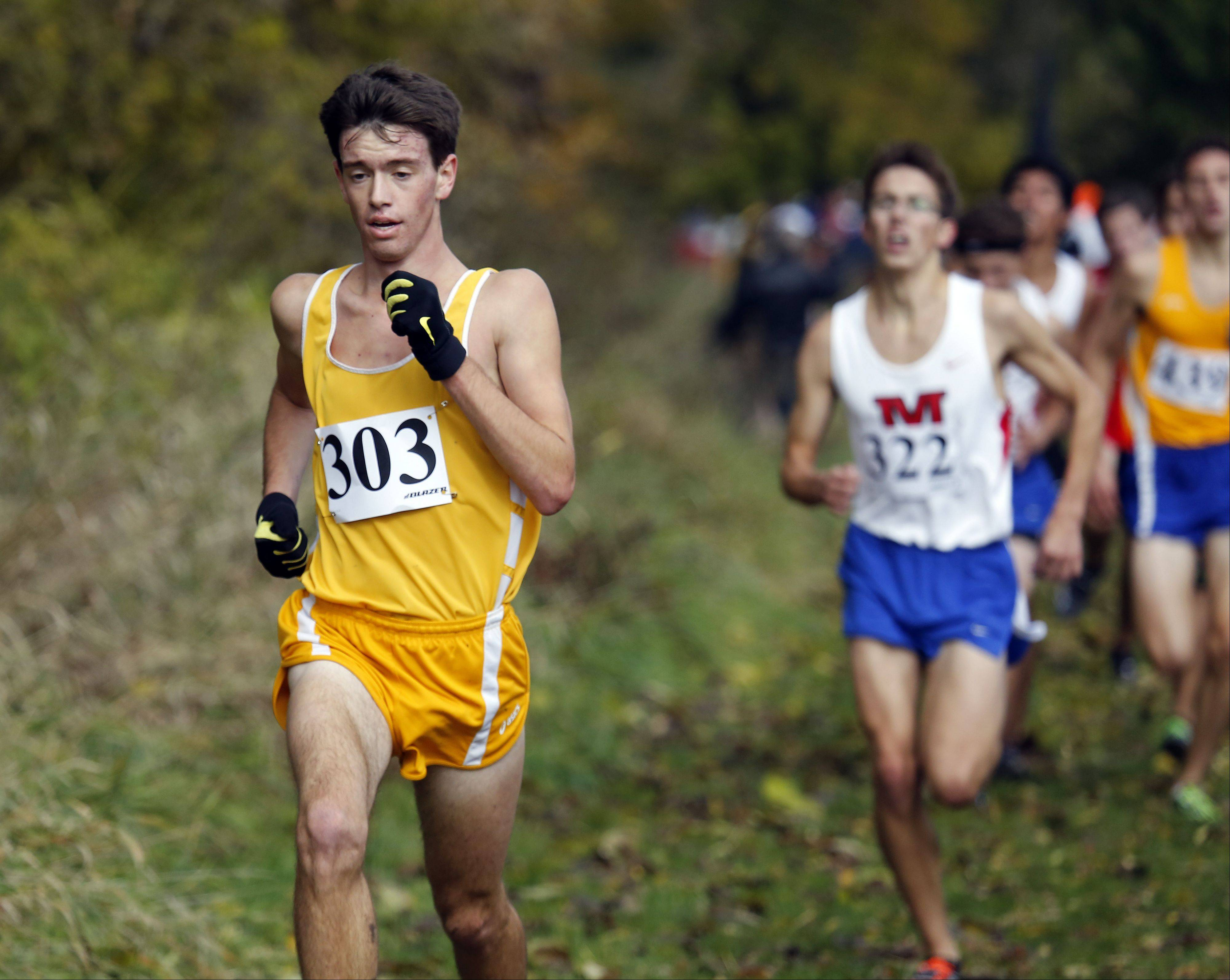 Jacobs' Matthew Johnson on his way to 12th during the Waubonsie Valley boys cross country Sectional in Aurora.
