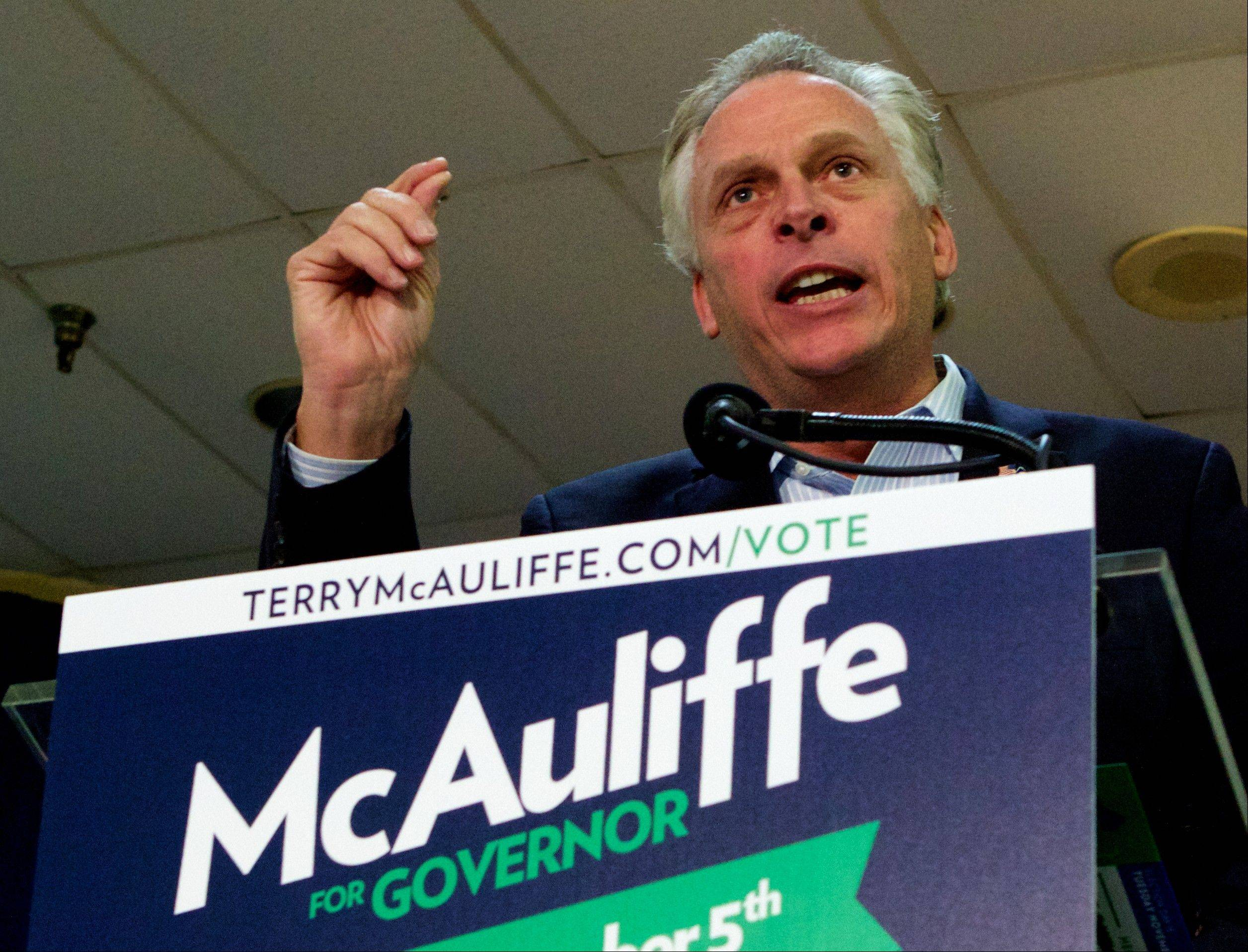Virginia Democratic gubernatorial candidate Terry McAuliffe campaigns.