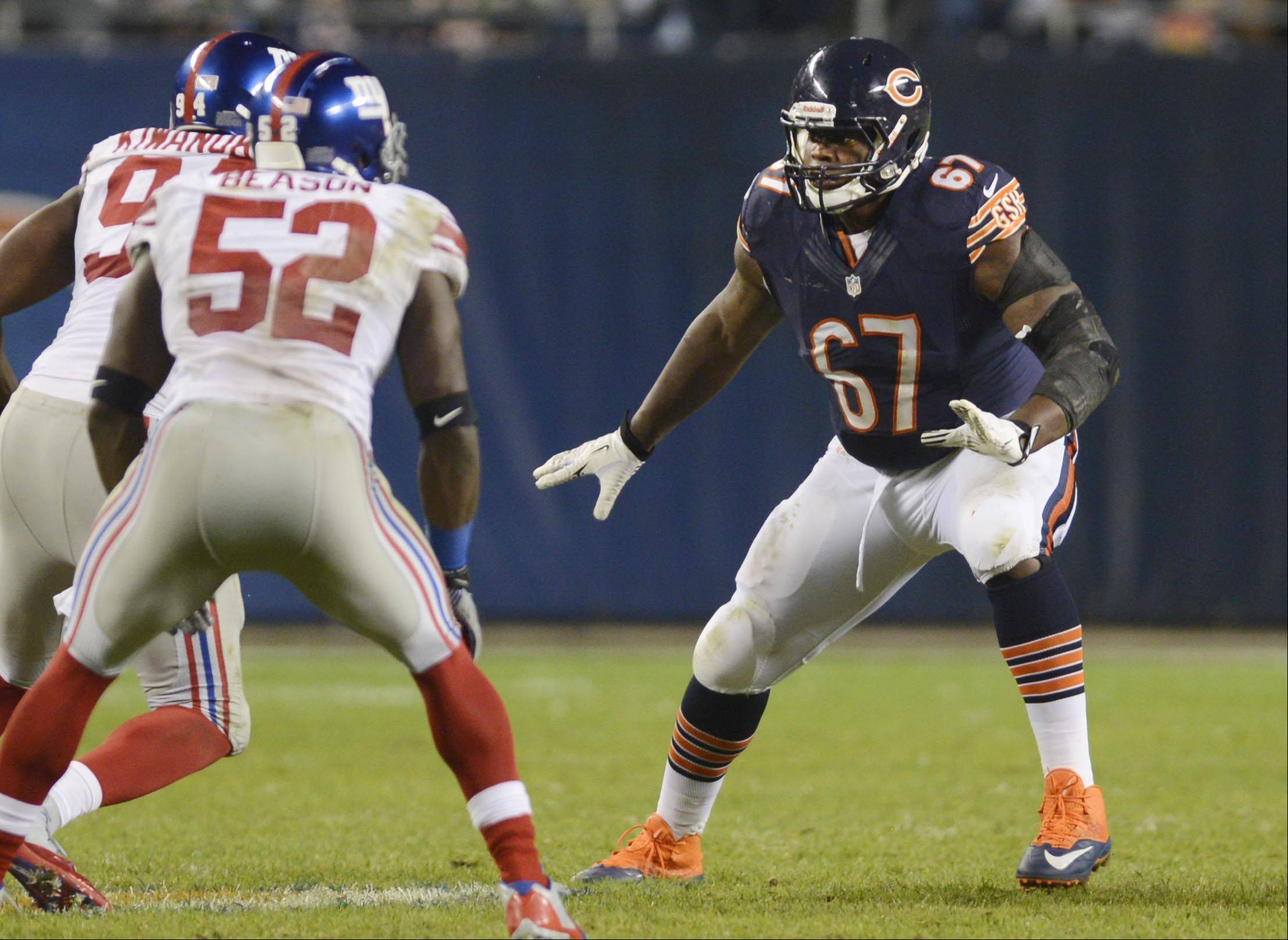 Bears offensive tackle Jordan Mills Thursday night at Soldier Field in Chicago.