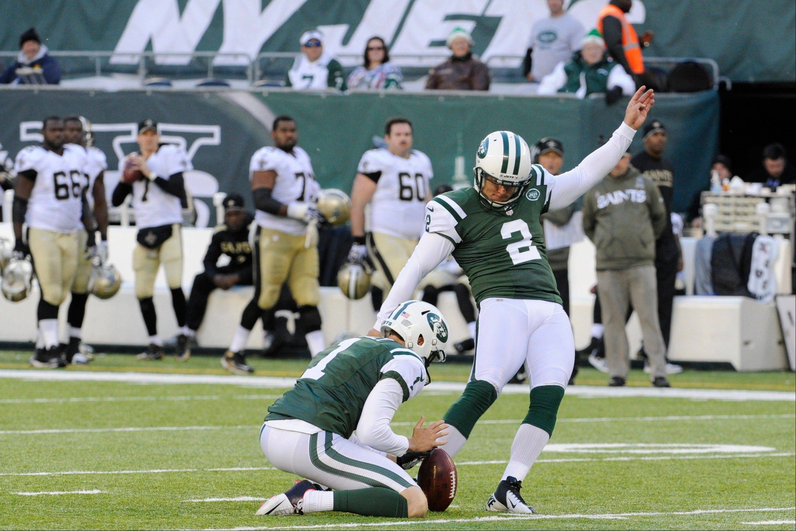 New York Jets kicker Nick Folk (2) kicks a field goal during the second half of an NFL football game against the New Orleans Saints Sunday, Nov. 3, 2013, in East Rutherford, N.J.