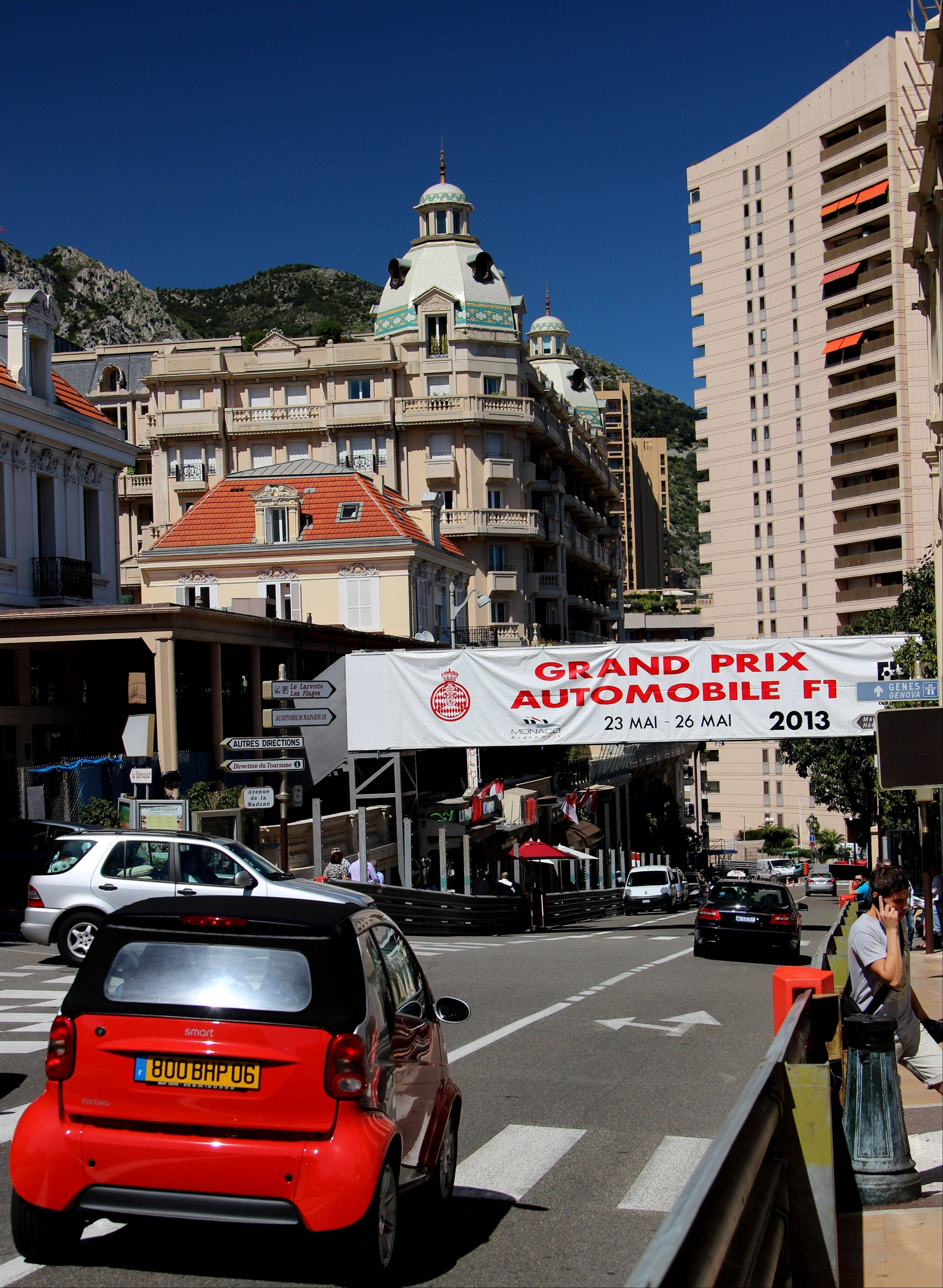The route for the Grand Prix race in Monaco is about 2 miles long, with maps available at the Monaco tourism center. Feel free to walk the course, which takes you past the Monte Carlo Casino, along the coast and around the famous hairpin turn in front of the Fairmont hotel.