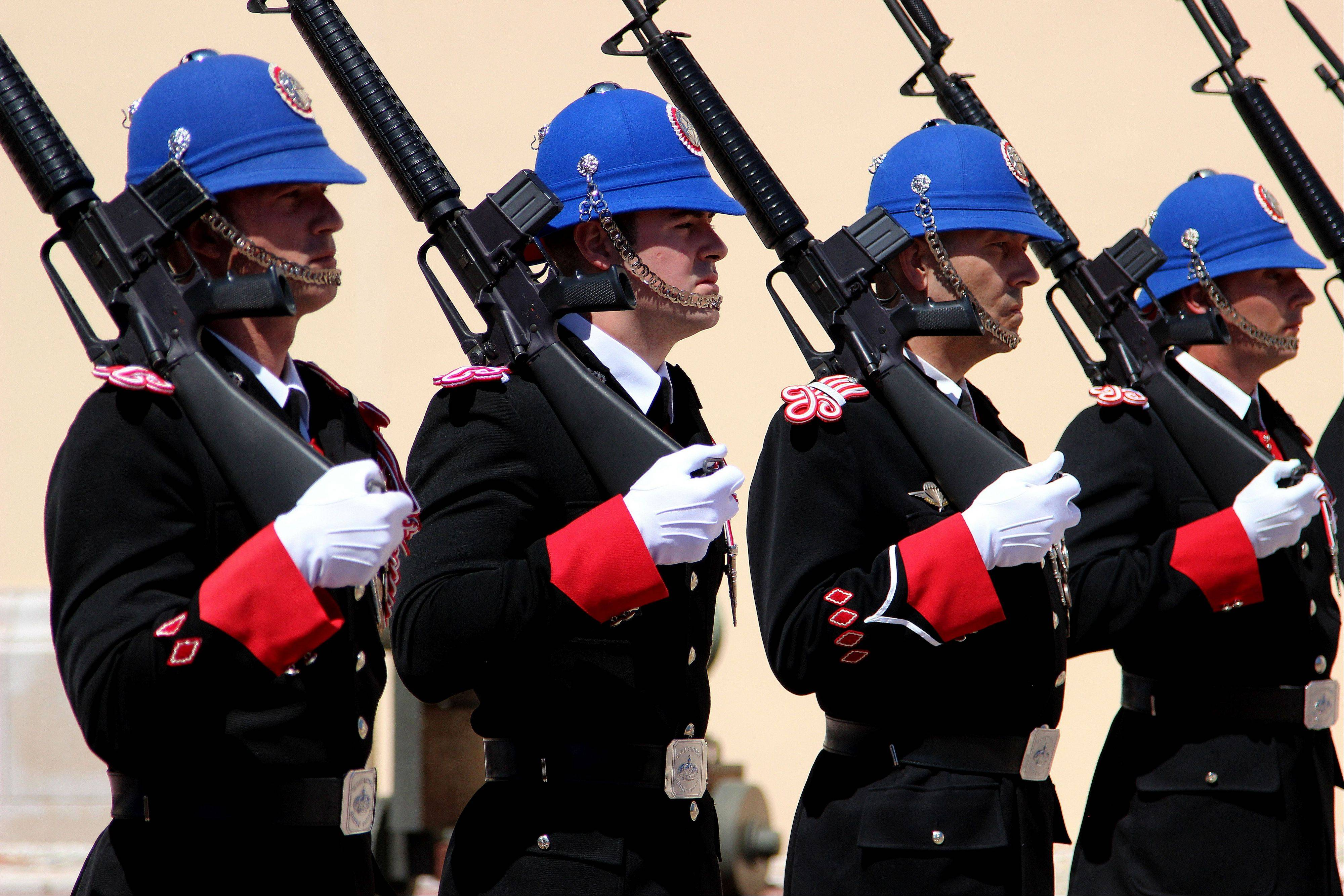 The changing of the guard outside the Prince�s Palace in Monaco takes place at 11:55 a.m. each day.