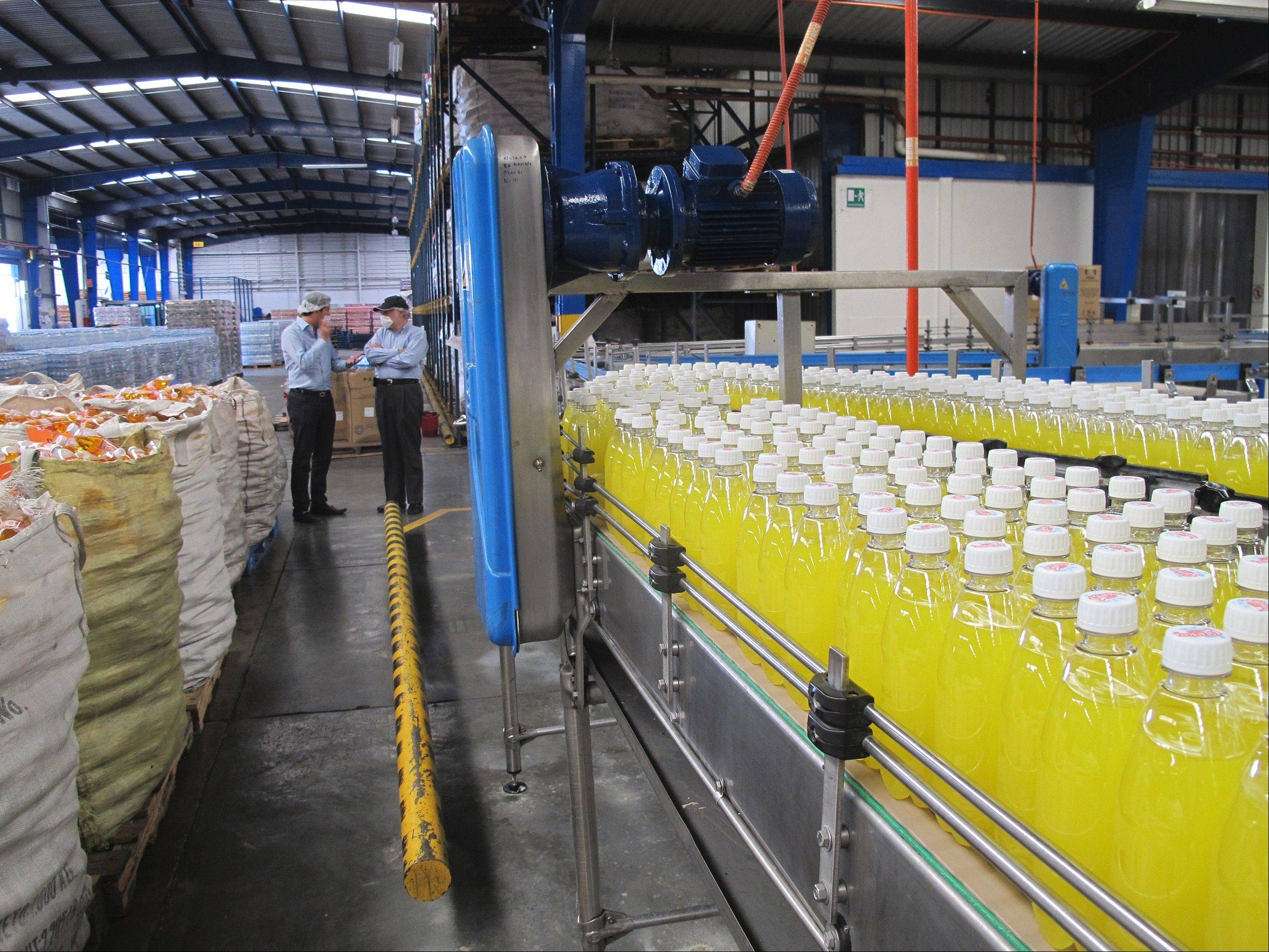 Gugar Soda's Oaxaca factory produces several types of drinks, including these pineapple sodas. Mexico is the world's top consumer of soft drinks at 163 liters per capita a year, 40 percent more than the U.S.