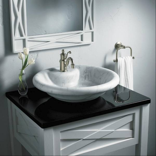 A Vessel Sink Sits On Top Of The Counter Rather Than Being Mounted In Or Below