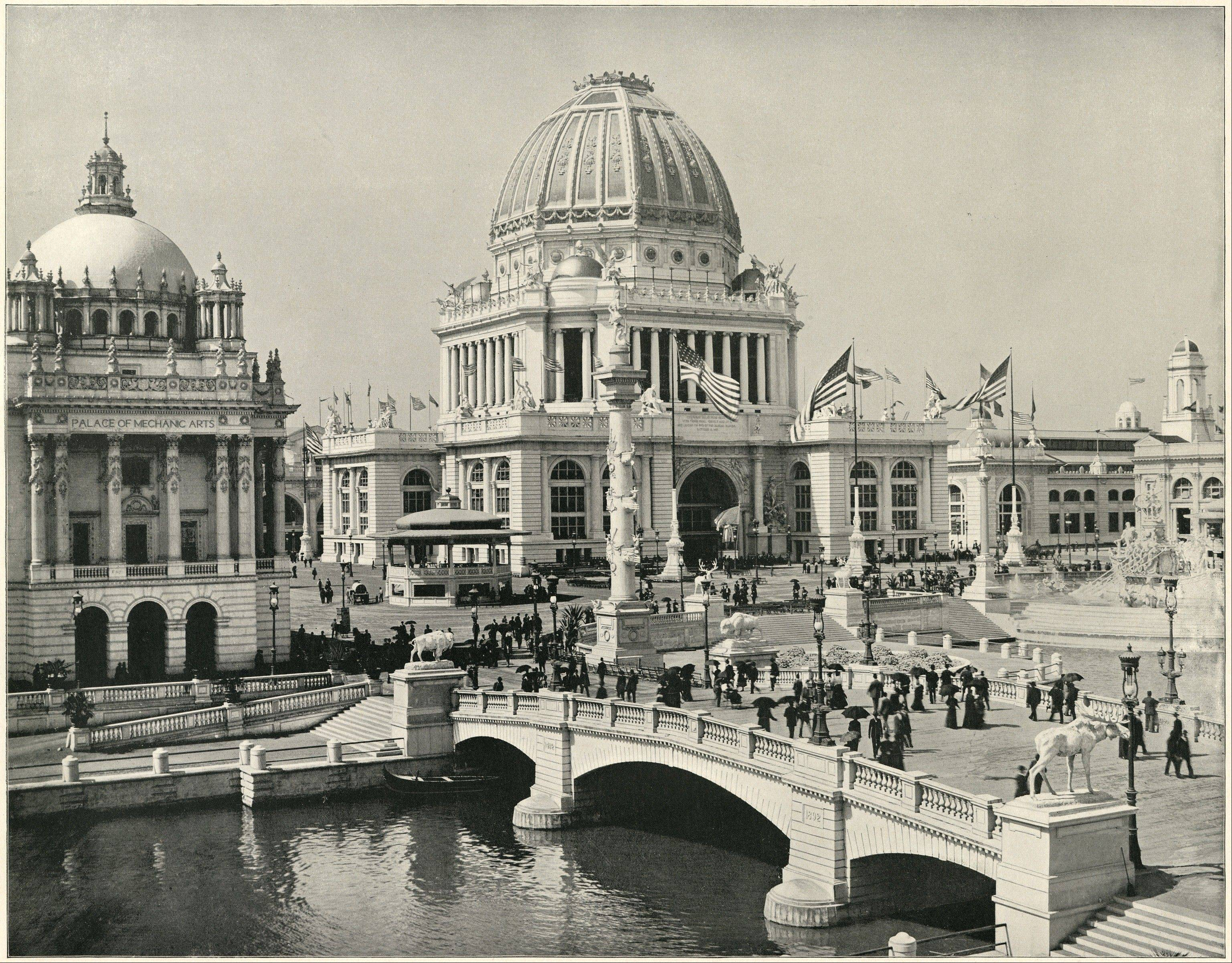 "Organizers of the Field Museum's ""Opening the Vault: Wonders of the 1893 World's Fair"" inserted video of modern people in period garb into familiar pictures of the fair."