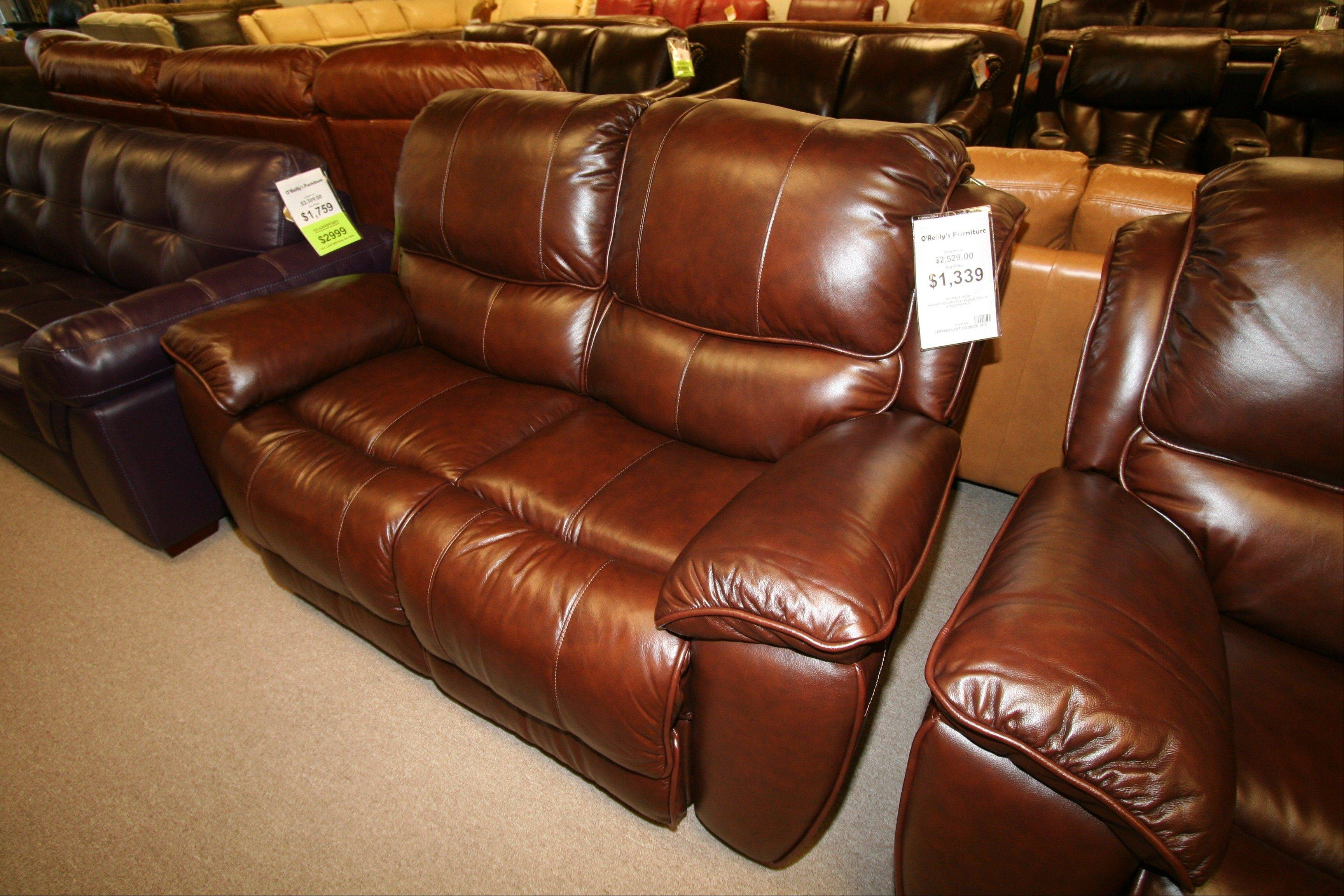 This oversized love seat also reclines.