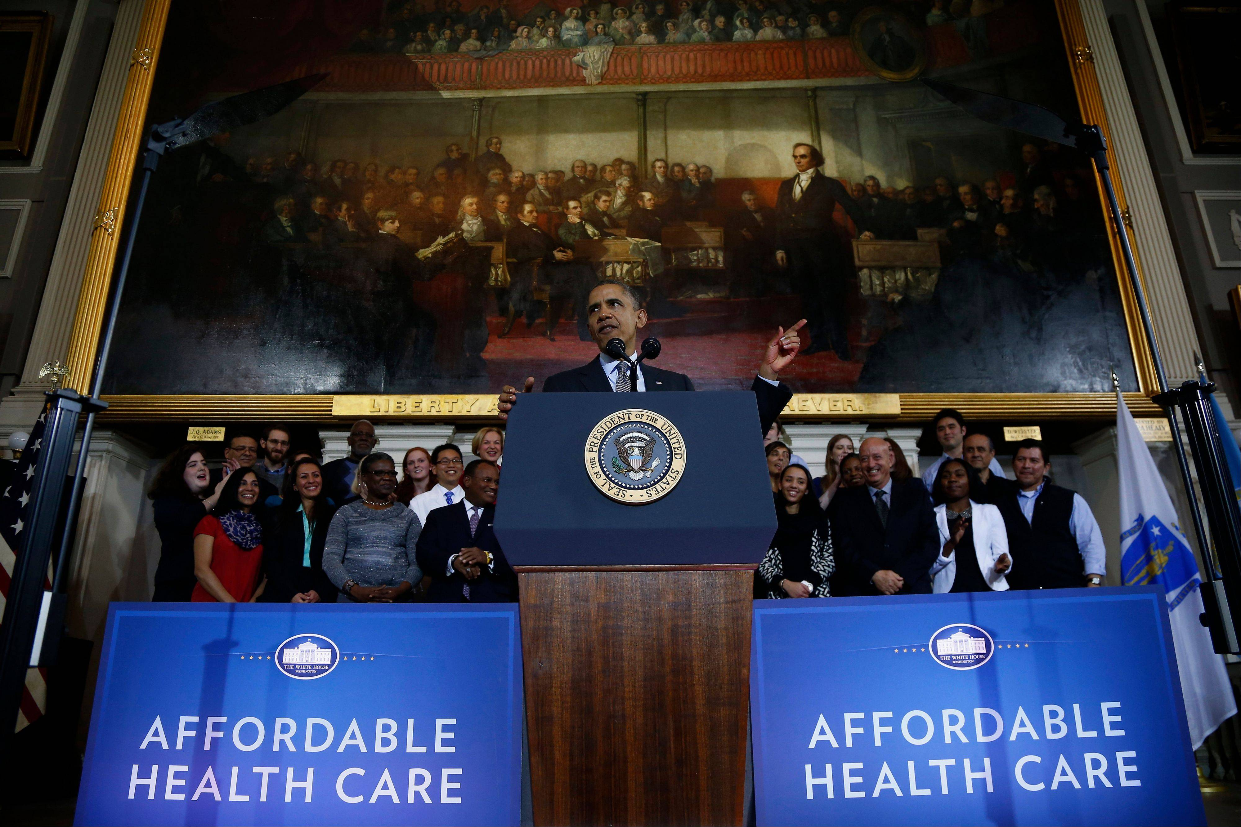 President Barack Obama speaks at Boston's historic Faneuil Hall about the federal health care law last week. Now is when Americans start figuring out that President Barack Obama's health care law goes beyond political talk, and really does affect them and people they know.