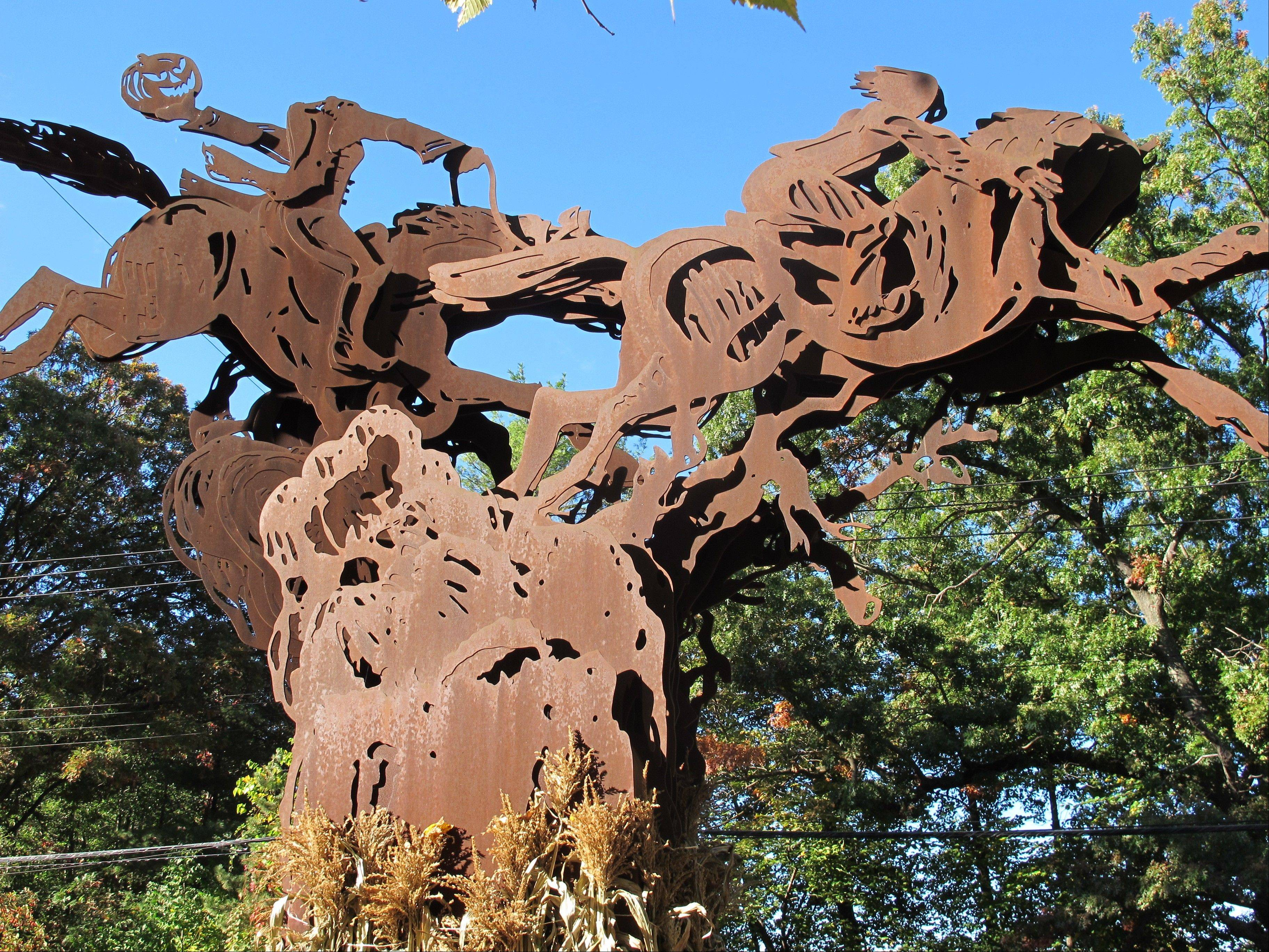 "An 18-foot-tall sculpture depicting the climax of ""The Legend of Sleepy Hollow"" stands in Sleepy Hollow, N.Y."