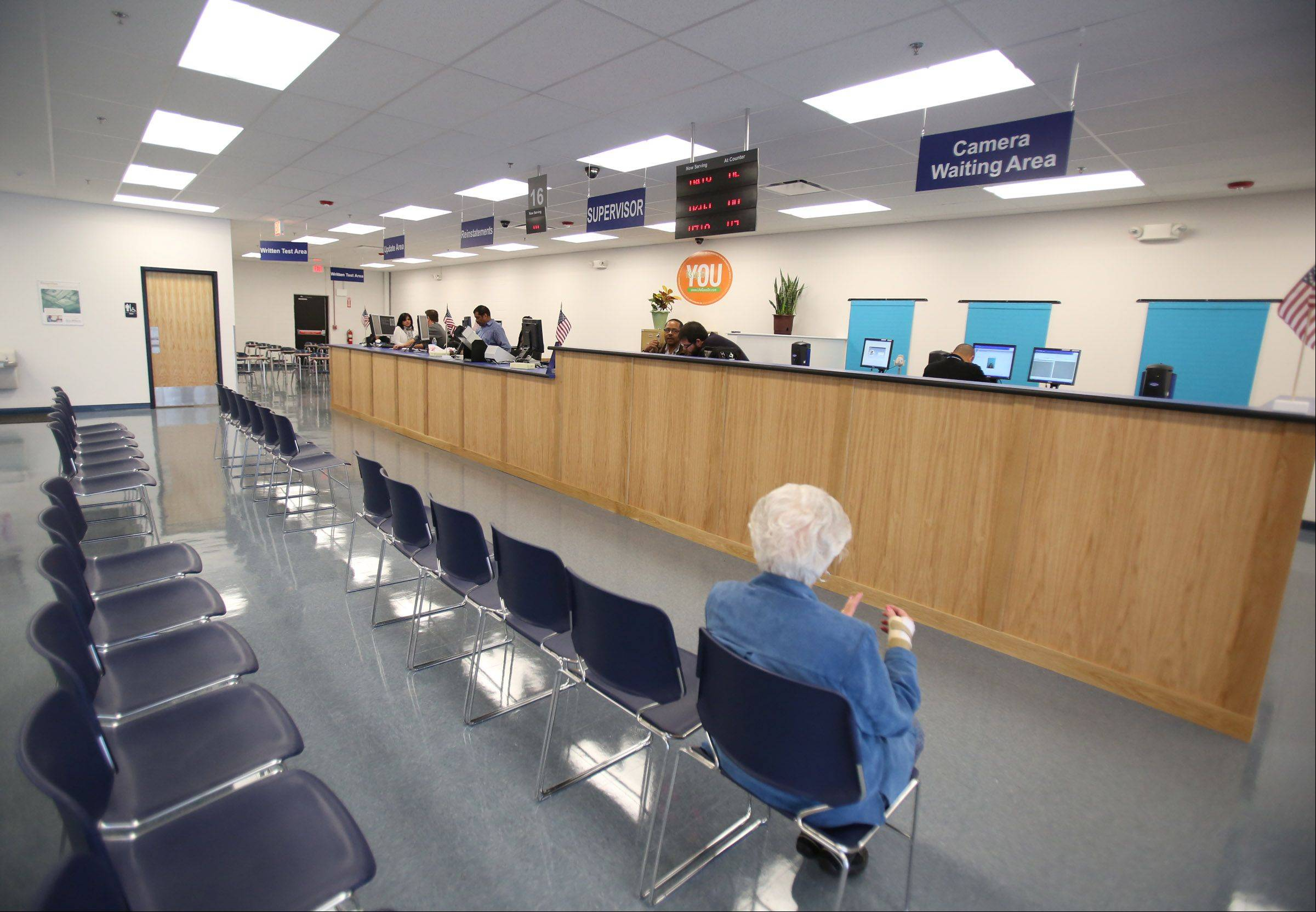 The waiting room at the new secretary of state driver services facility in Des Plaines was virtually empty at one point Tuesday during the office's soft opening.