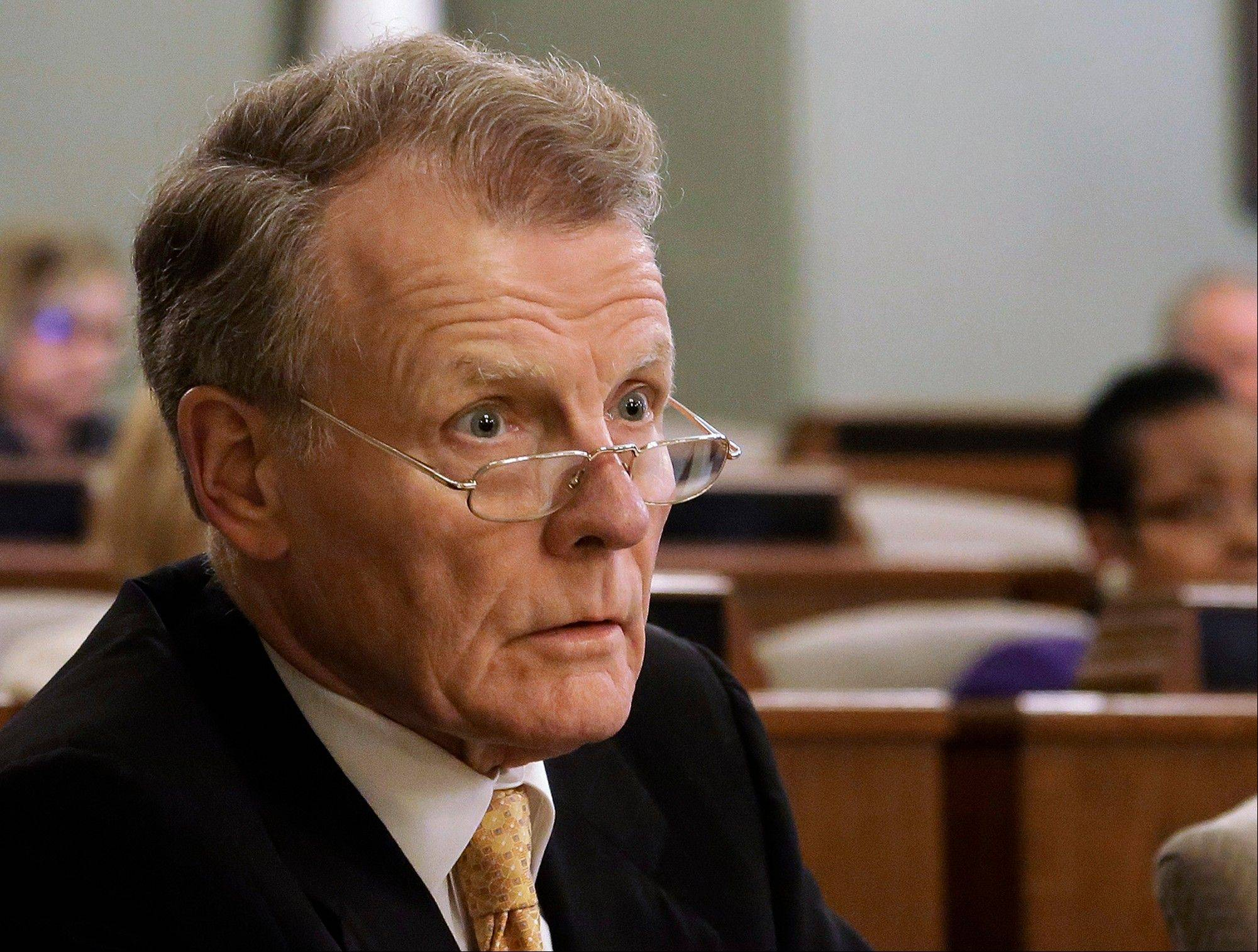 In this June 18, 2013 file photo, Illinois House Speaker Michael Madigan, a Chicago Democrat, speaks to lawmakers during a House committee hearing at the state Capitol in Springfield. Lawmakers say they are making progress on a deal to solve Illinois� $97 billion pension crisis, but are not confident there will be a vote as the annual fall legislative session enters its final days beginning Tuesday.