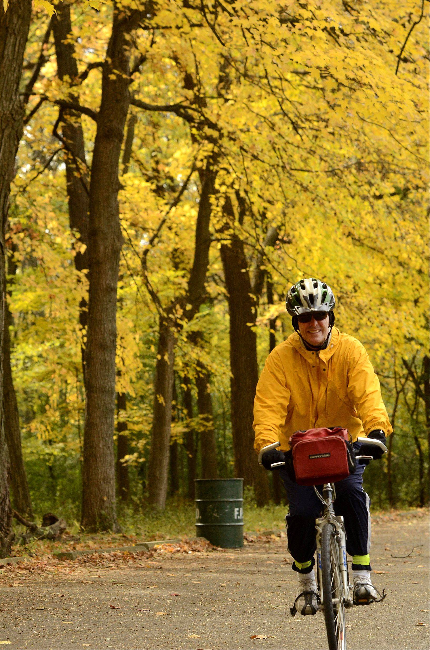 Tim Boyle of Des Plaines rides through Camp Pine Woods in Des Plaines at least once a week for usually 15-20 miles.