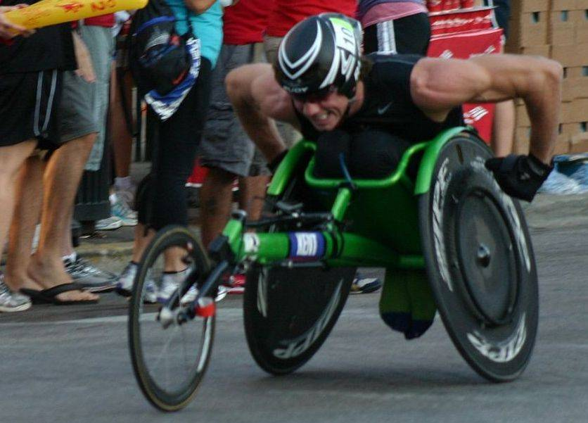 Geoff Kent, seen here racing in a Chicago Marathon, started his charity after he was paralyzed from the chest down in a 2007 downhill skiing accident.