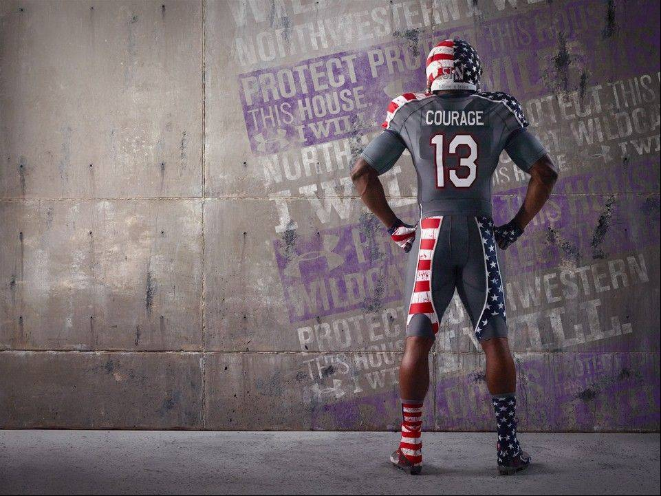 Here's a look at the uniform that Northwestern's football team will wear Nov. 16 against Michigan to help raise support for the Wounded Warrior Project. Under Armour will be replacing the players' last names on the back with one of the seven core values: DUTY, HONOR, COURAGE, COMMITMENT, INTEGRITY, COUNTRY and SERVICE. After the game, the jerseys will be auctioned off on the Northwestern University website with all proceeds benefitting WWP.