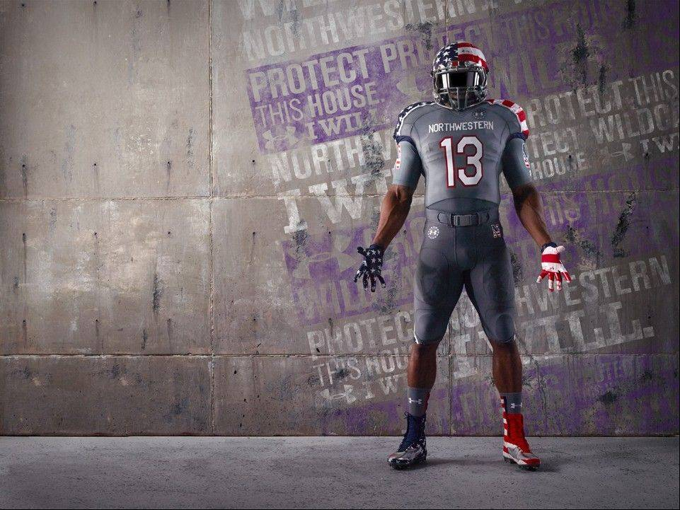 Here's a look at the front of uniform that Northwestern's football team will wear Nov. 16 against Michigan to help raise support for the Wounded Warrior Project.