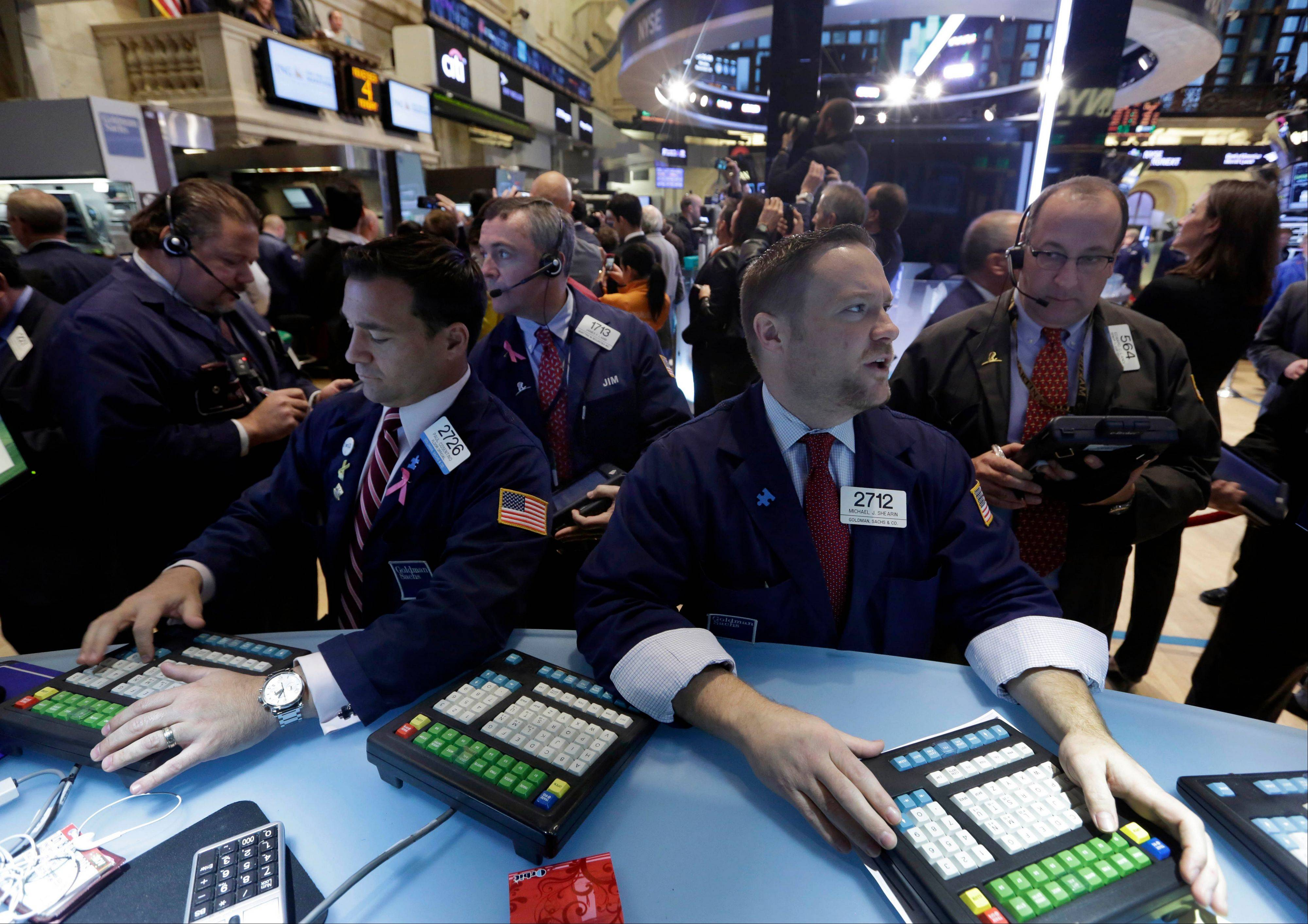 U.S. stocks declined, following two days of gains that sent the Standard & Poor�s 500 Index to within five points of a record high, as investors awaited this week�s data on economic growth and employment.