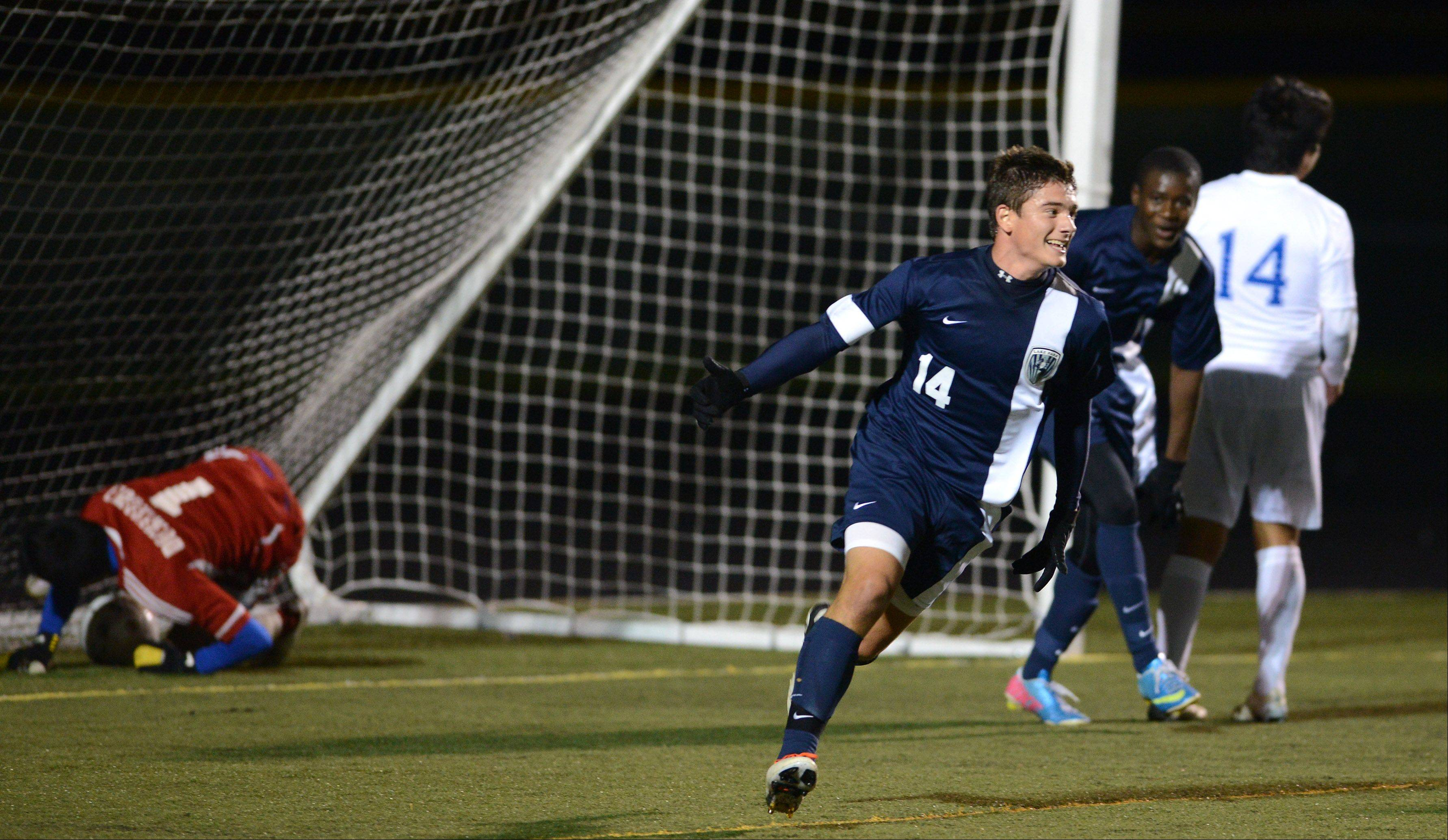 Lake Park�s Giovanni Ciaccio celebrates after scoring what proved to be the game-winning goal against Larkin during Tuesday�s supersectional in Streamwood.