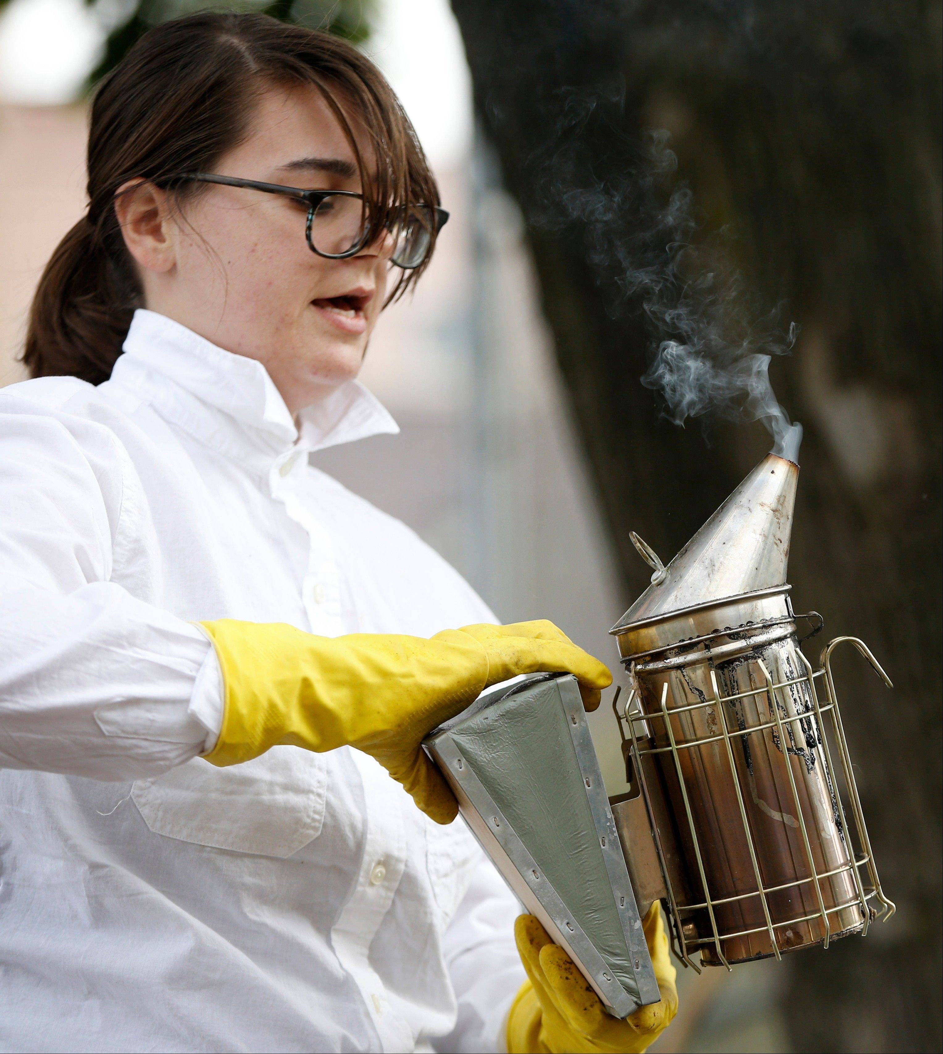 Beekeeper Kellen Henry checks her smoker before conducting a hive inspection at a Feedback Farms hive in Brooklyn, N.Y. Though New York reversed a long-standing ban on tending to honeybees in 2010, there are issues beyond legality that potential beekeepers should consider. Beekeeping, especially in an urban area, requires space, time and cooperation with the surrounding community.